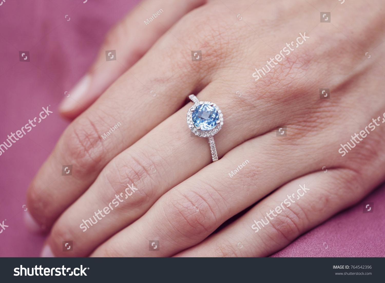 Engagement Ring On Female Hand Stock Photo 764542396 - Shutterstock