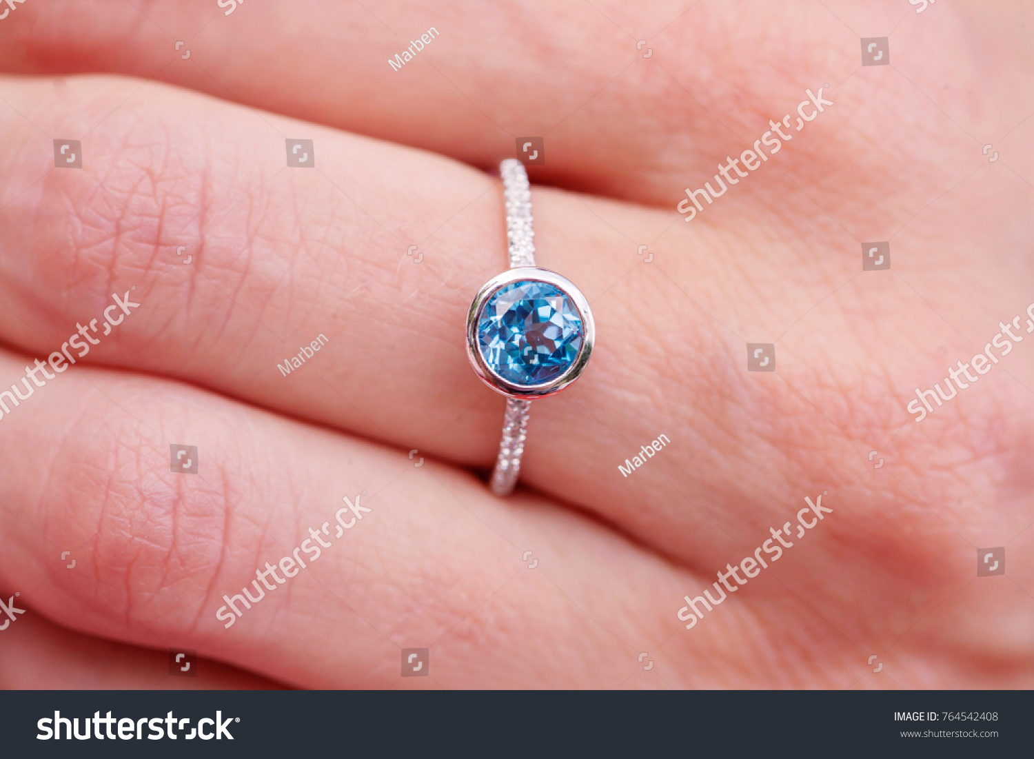 Engagement Ring On Female Hand Stock Photo (Edit Now) 764542408 ...