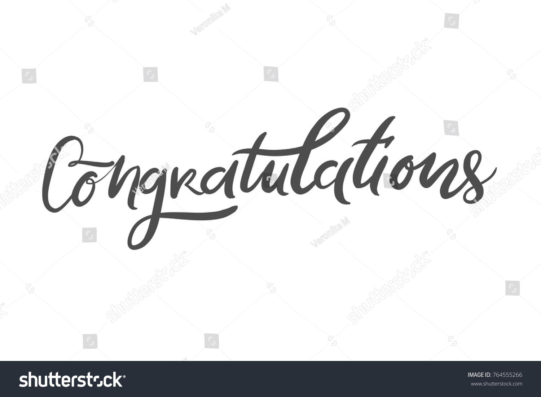 Congratulation Card Vector Hand Drawn Phrase Stock Vector Royalty