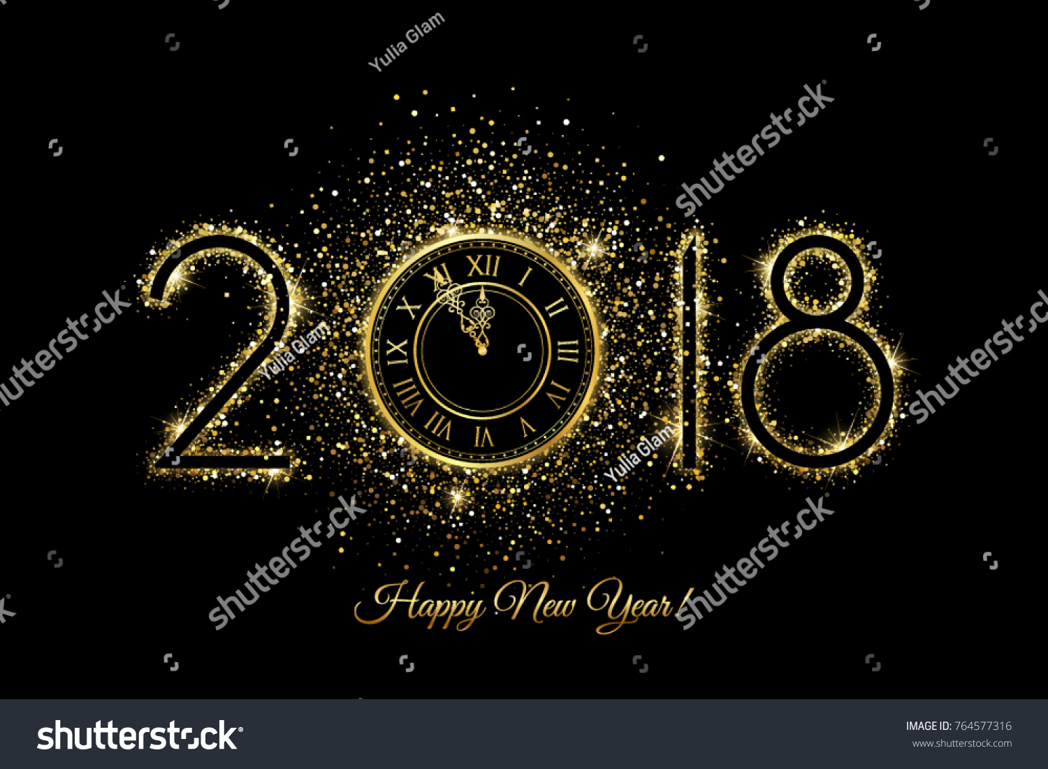 happy new year 2018 vector new year background with gold clock on black