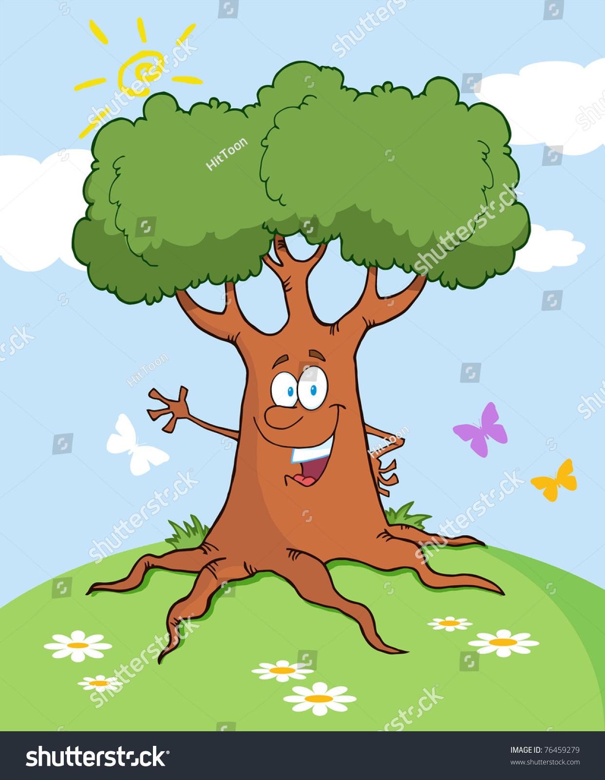 happy cartoon tree waving greeting landscape stock vector