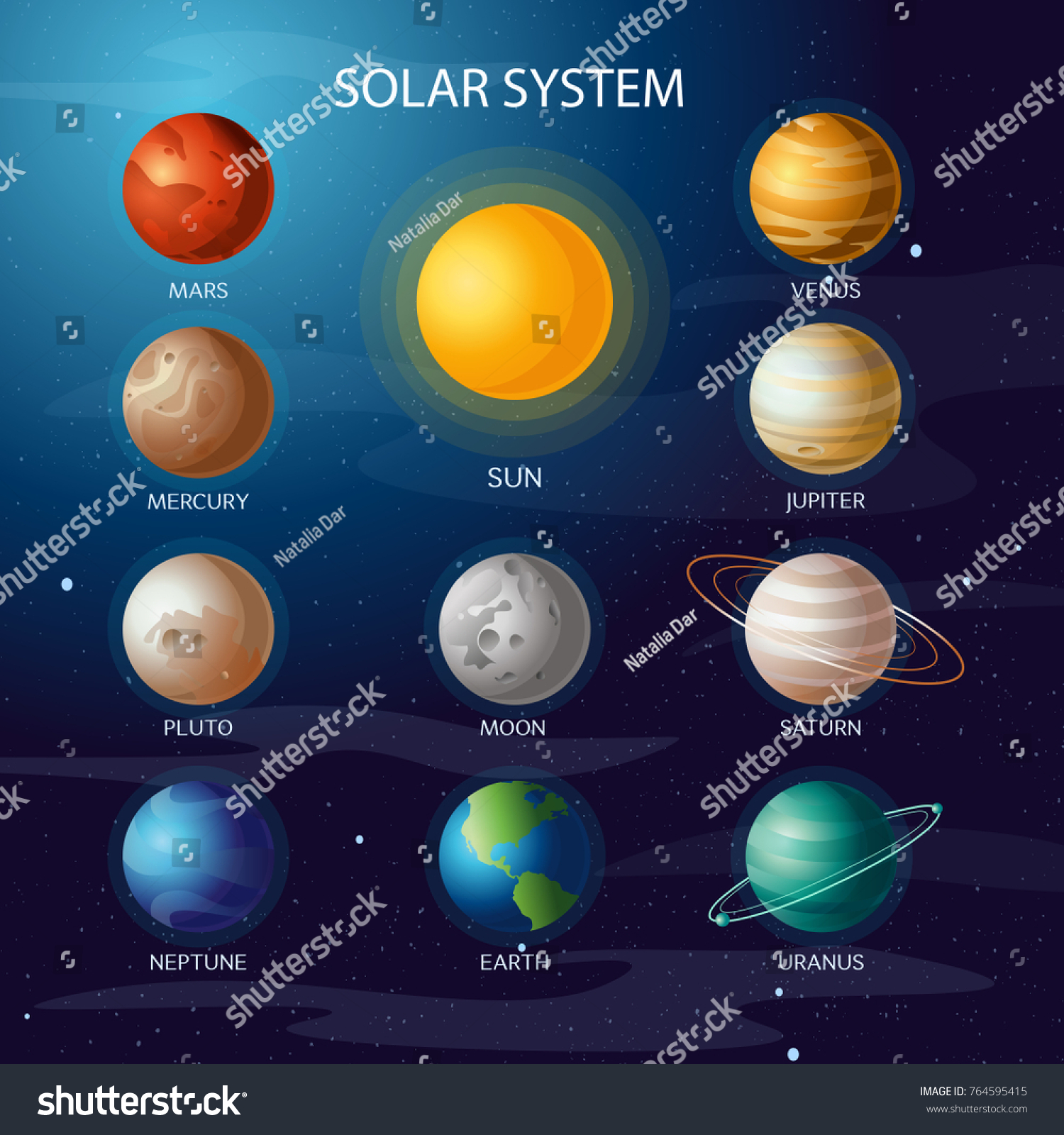Vector illustration solar system all planets stock vector vector illustration of solar system all planets sun mercury venus moon earth mars in the pooptronica Gallery