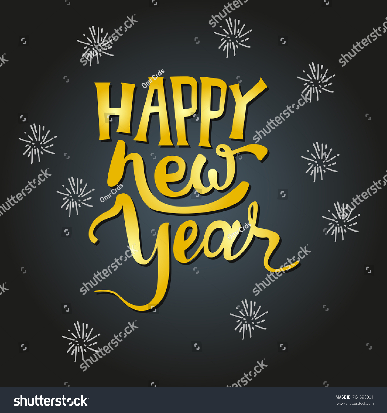 Happy New Year Text Hand Drawn Stock Vector Royalty Free 764598001