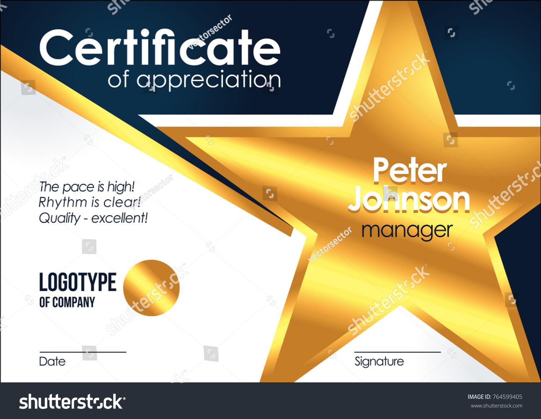 Certificate appreciation golden muniment diploma template stock certificate of appreciation golden muniment or diploma template with gold star metal texture vector cool vector alramifo Image collections