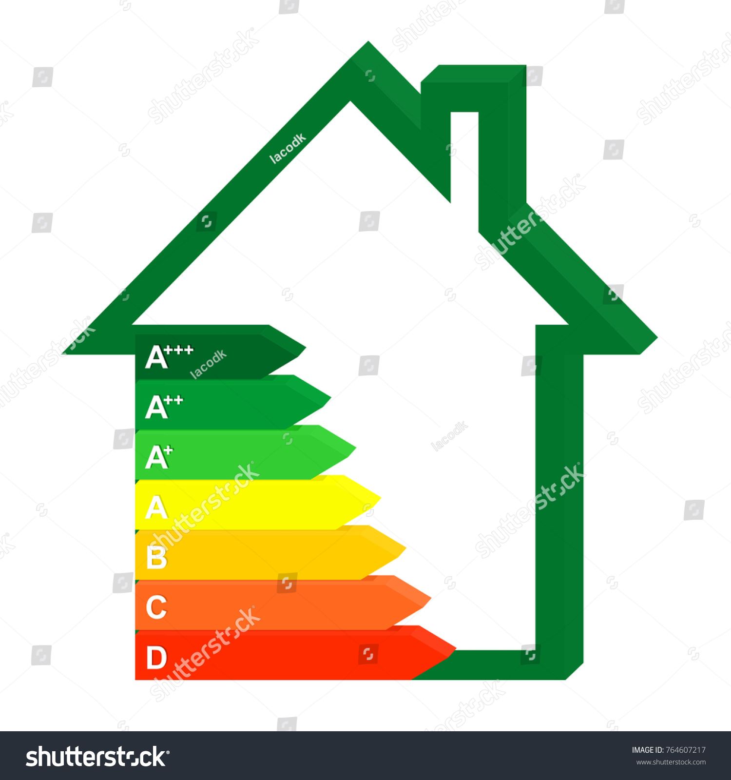 3D Color Icon Energy Class Home Next To A Green House. Graph Saving And  Energy