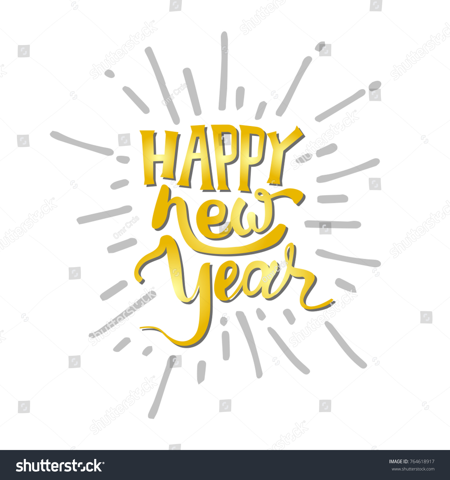 Happy new year text hand drawn stock vector 764618917 shutterstock happy new year text hand drawn lettering holiday greetings quote great for christmas kristyandbryce Images