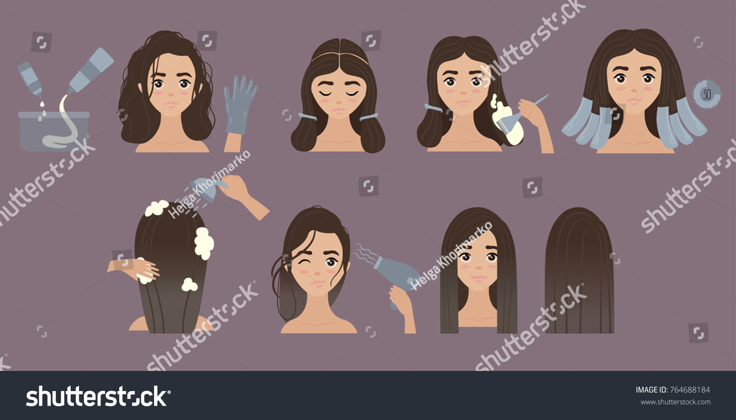 Hair Coloring Styling Process Young Girl Stock Vector Royalty Free
