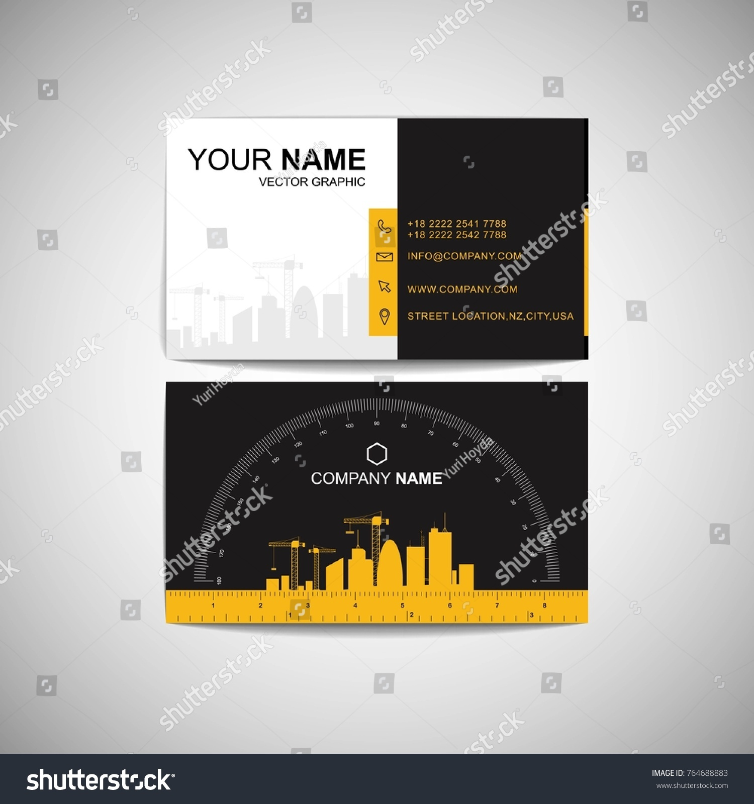 Construction business card functional design ruler stock vector construction business card functional design with ruler and protractor vector magicingreecefo Images