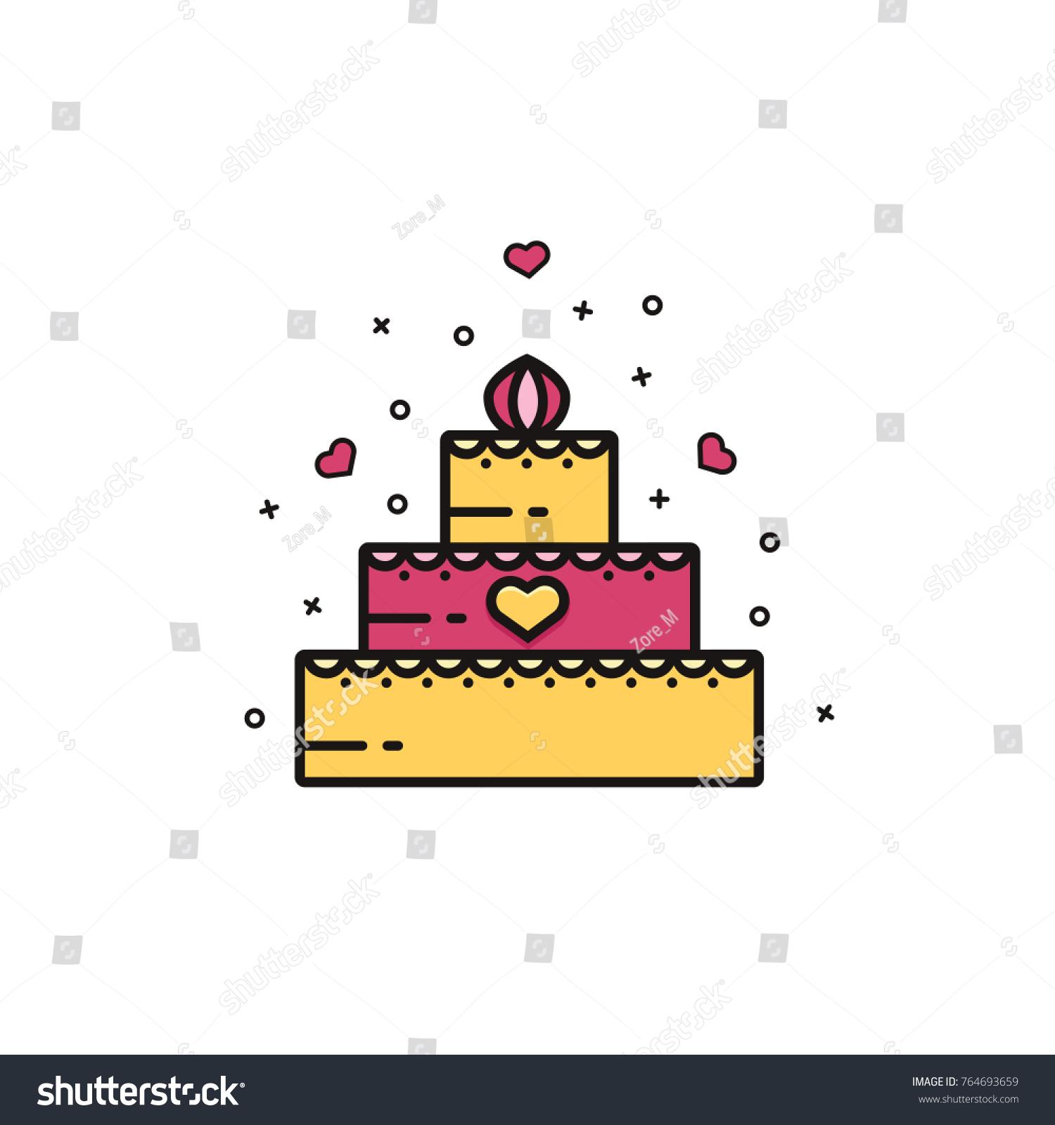 Wedding birthday cake icon sign symbol stock vector 764693659 wedding or birthday cake icon sign symbol emblem image pictogram buycottarizona