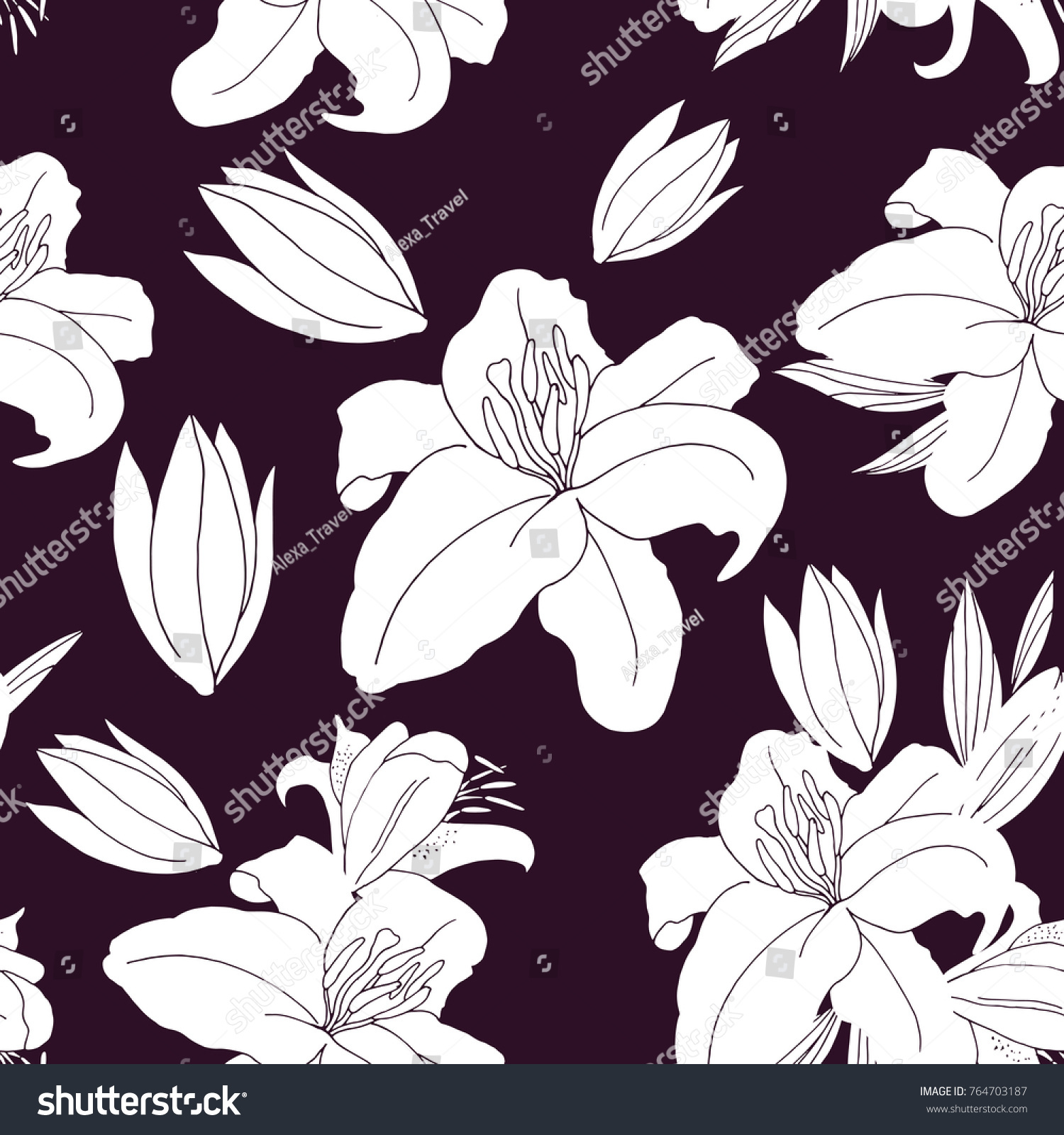 Seamless vector pattern lily flower simple stock vector royalty seamless vector pattern with lily flower simple background for your designs print textile izmirmasajfo