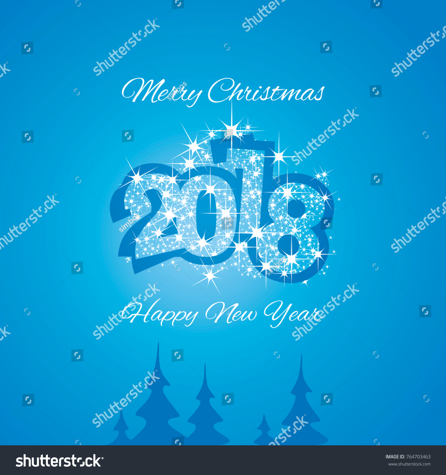 Christmas Happy New Year 2018 Blue Stock Vector Royalty Free