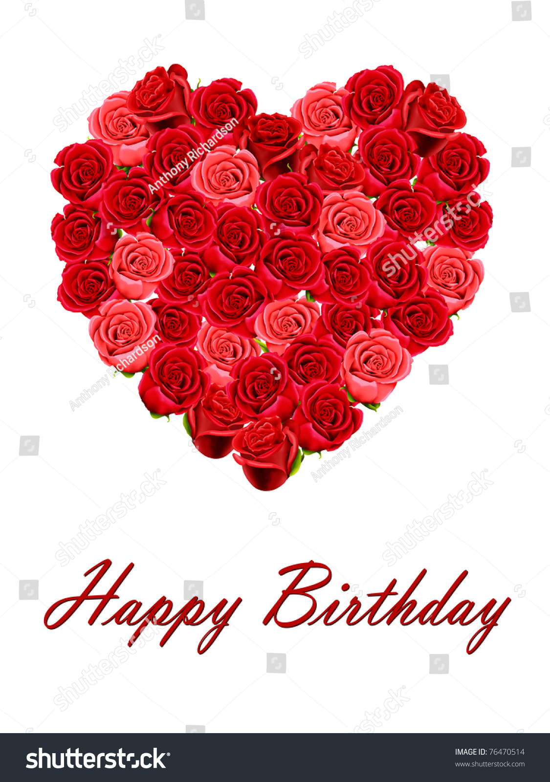 Happy Birthday With A Heart Of Roses Isolated On White Background