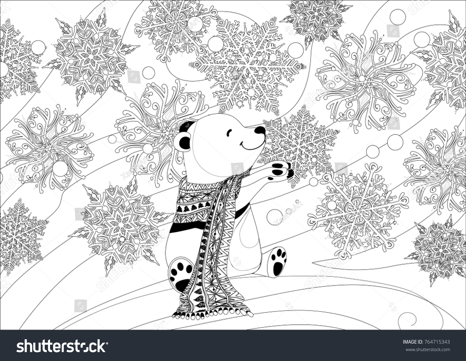 Coloring Page Adult Little Polar Bear Snowflakes Christmas Stock
