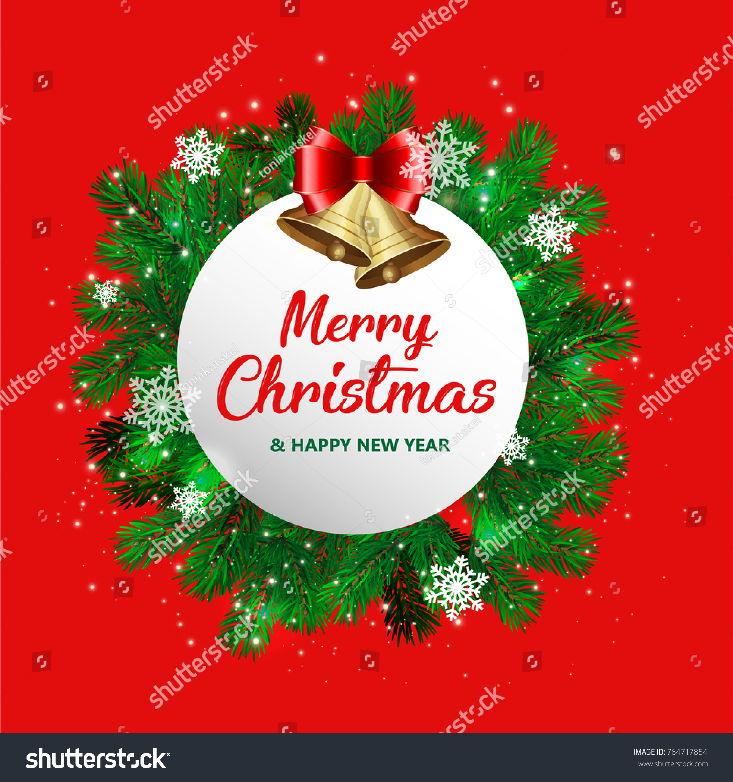 Realistic Round Christmas Fir New Year Stock Vector Royalty Free