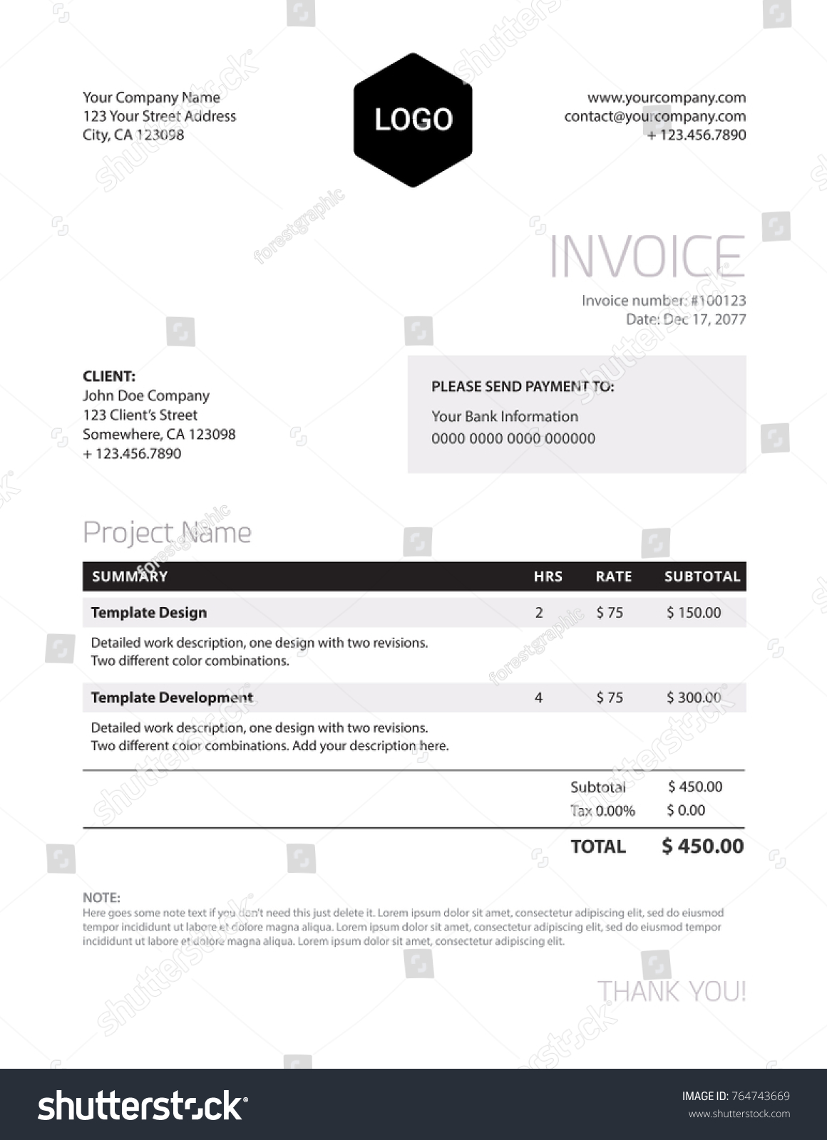 Invoice Template Classy Black White Business Stock-Vektorgrafik ...
