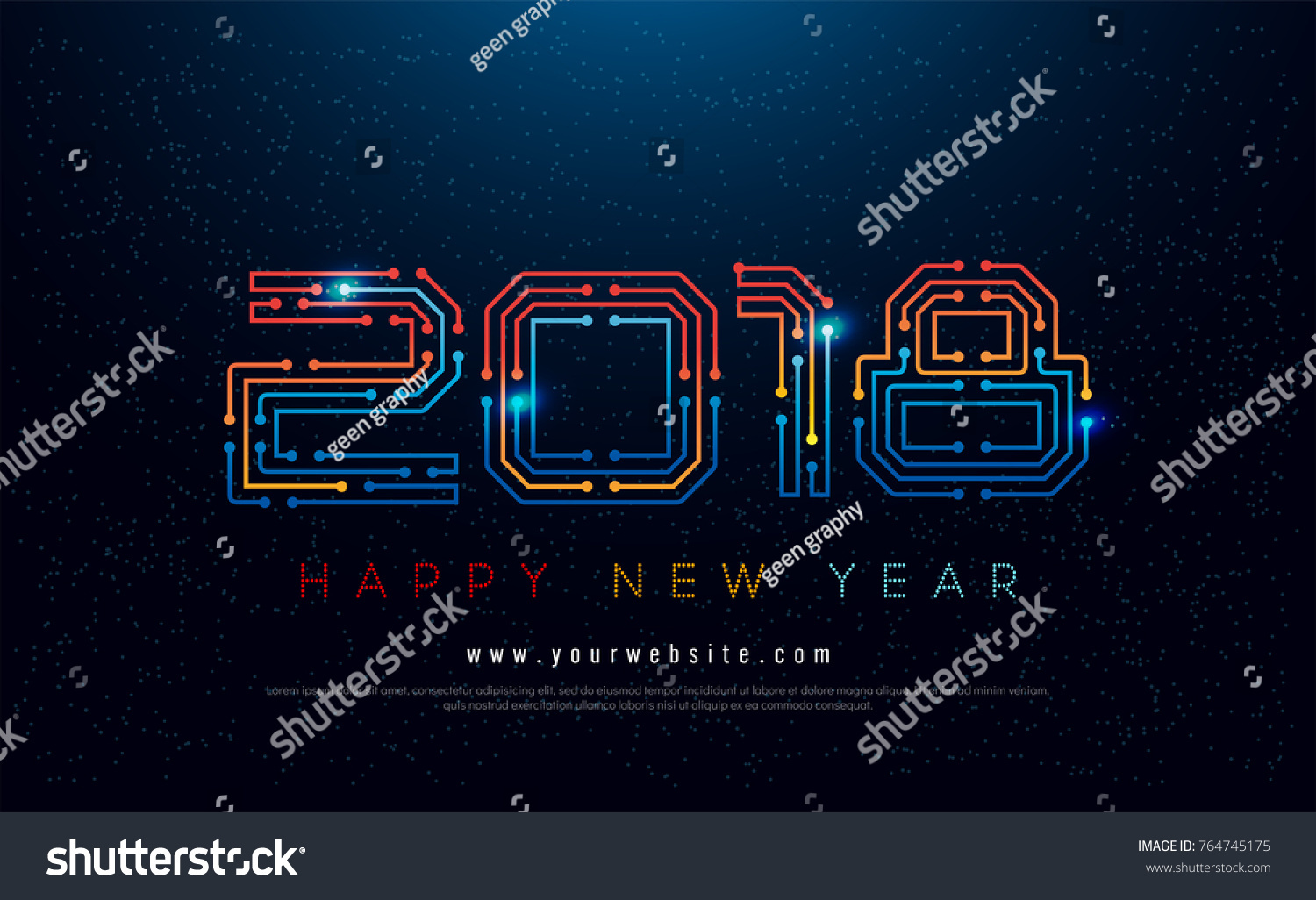 Happy new year 2018 typography technology stock vector royalty free happy new year 2018 typography technology concept on navy background new year greeting card design m4hsunfo