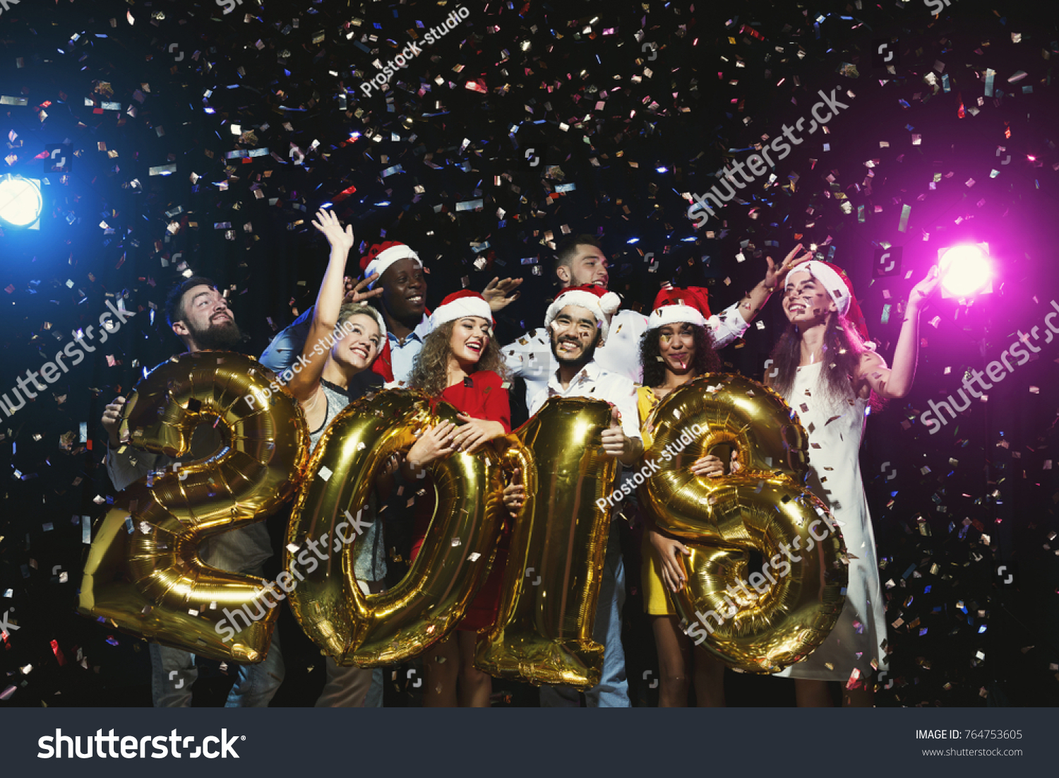 Office Christmas Party Group Joyful Colleagues Stock Photo (Edit Now ...