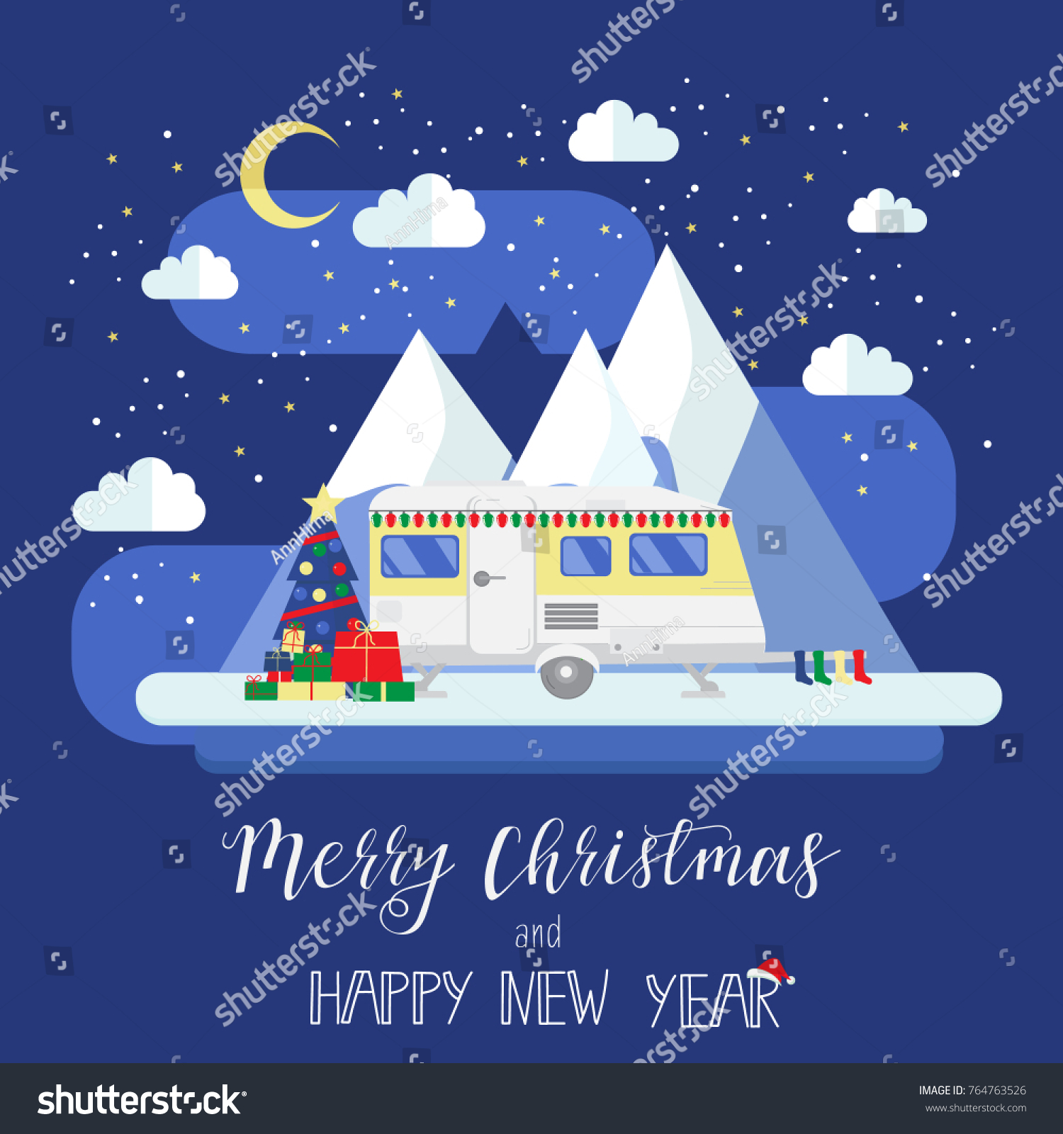 RV Travel Concept Mobile Home Christmas Stock Vector (Royalty Free ...