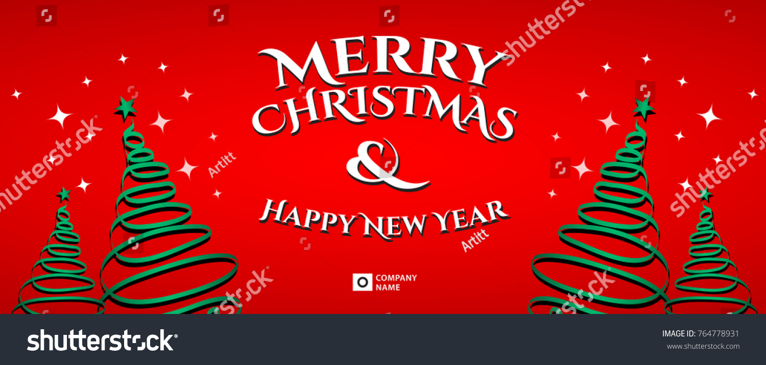 Merry Christmas Banner Template, Card Layout, Vector Illustration  Christmas Card Layout