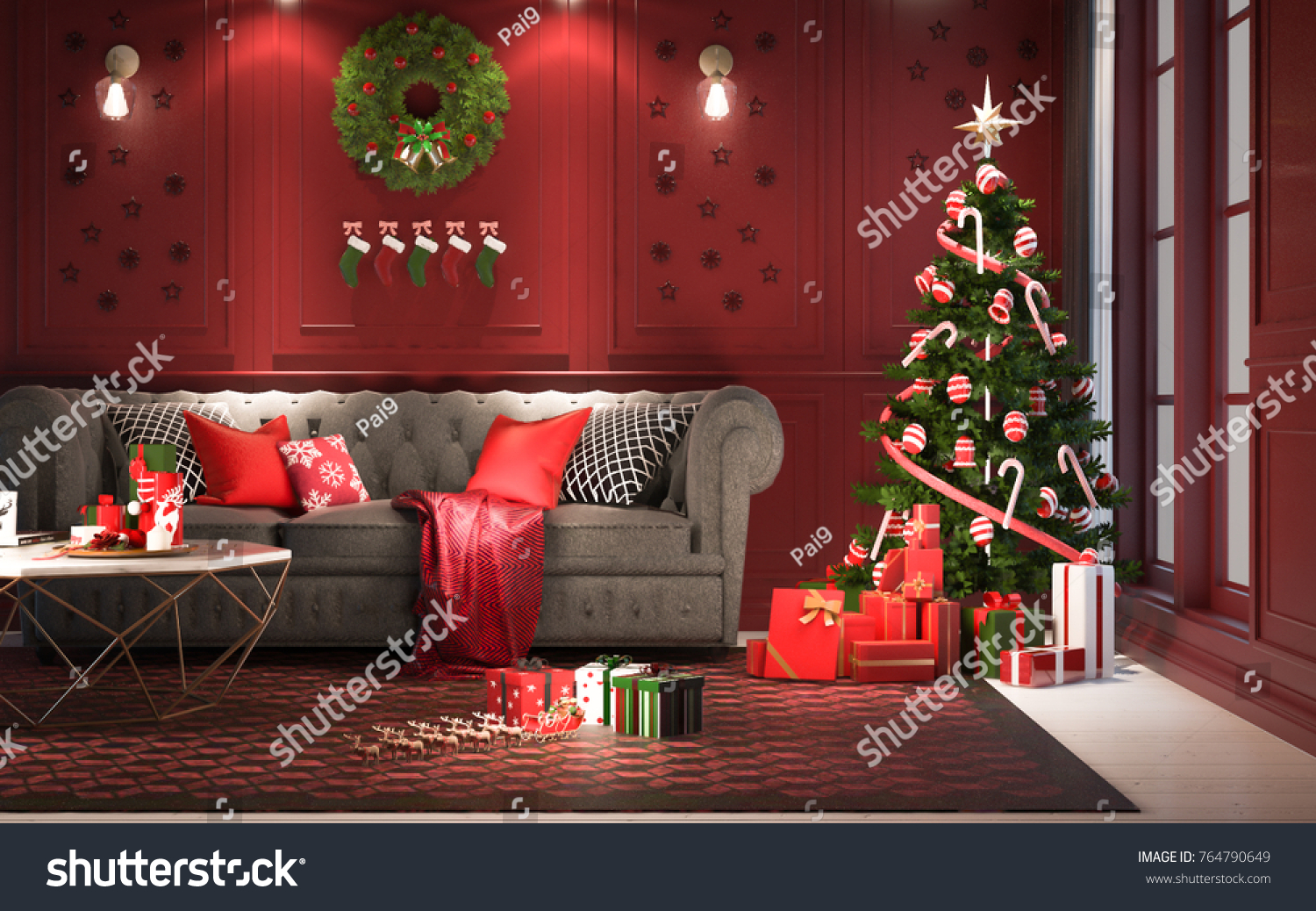 Christmas Party At Night In Living Room