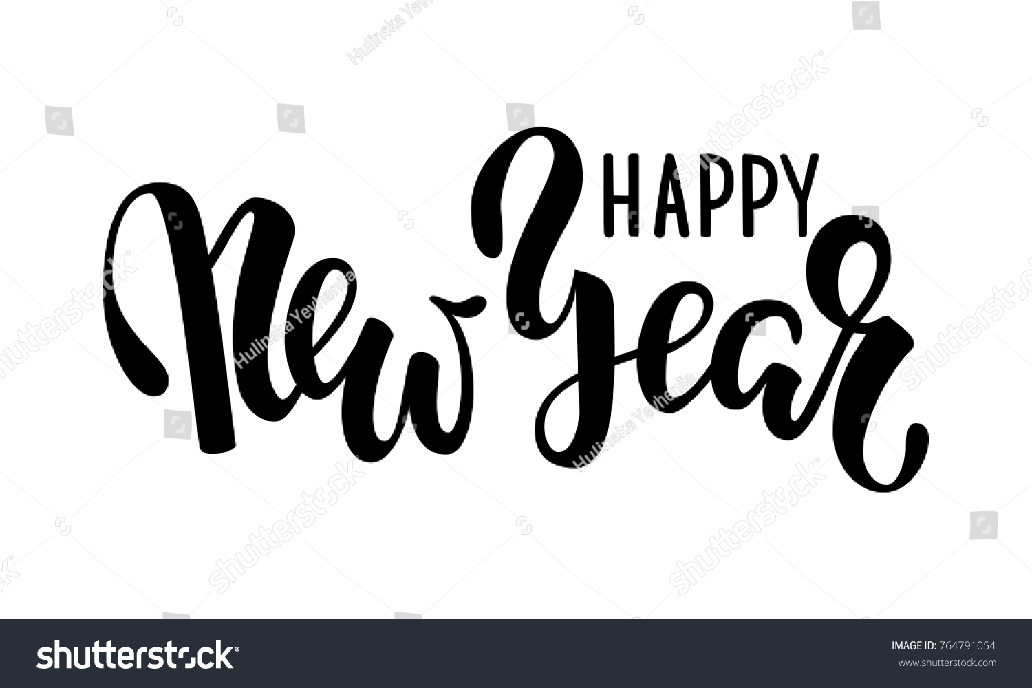happy new year hand drawn creative calligraphy brush pen lettering design holiday greeting