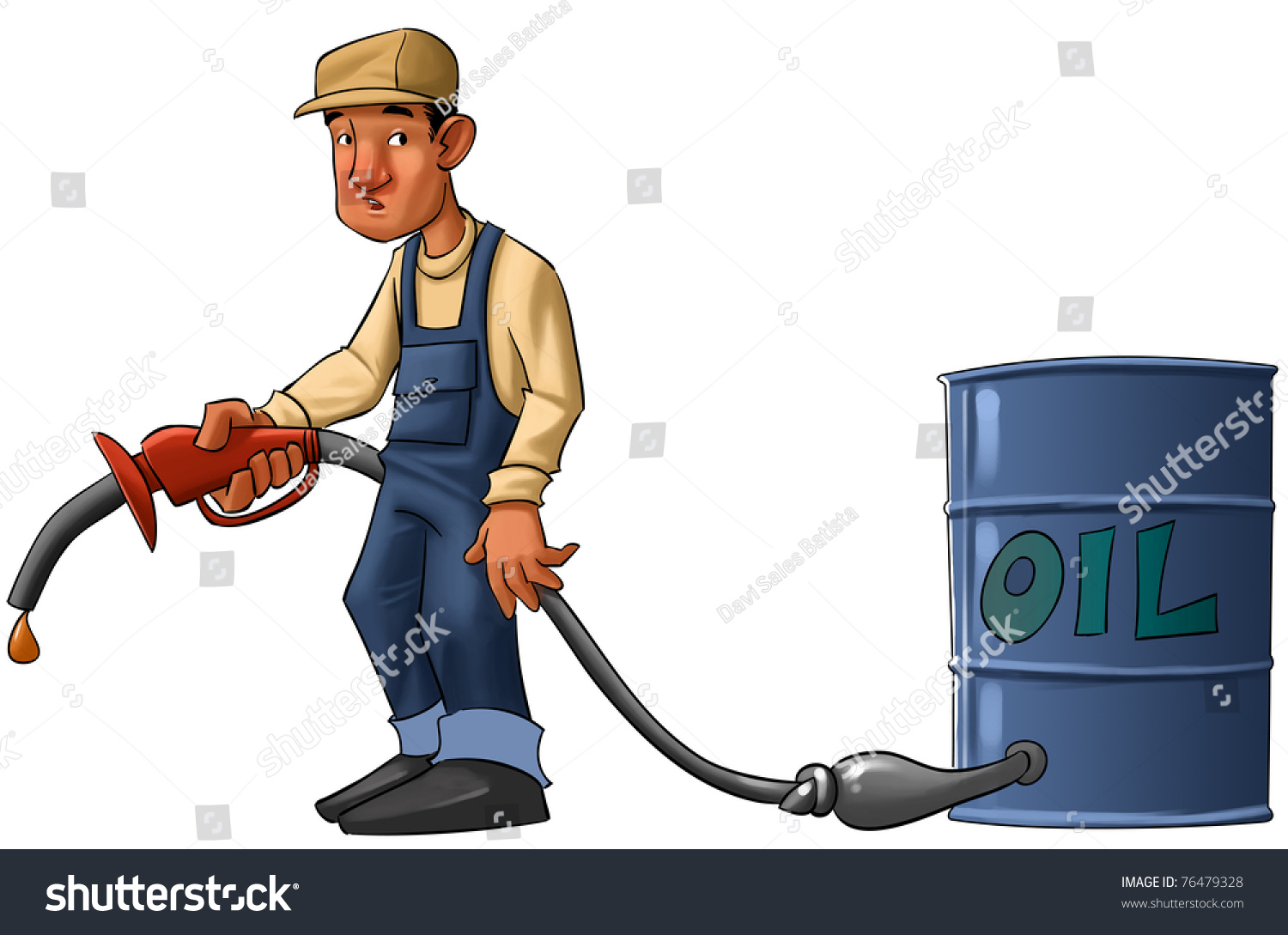 Gas Station Worker Pump Without Gas Stock Illustration 76479328 ...