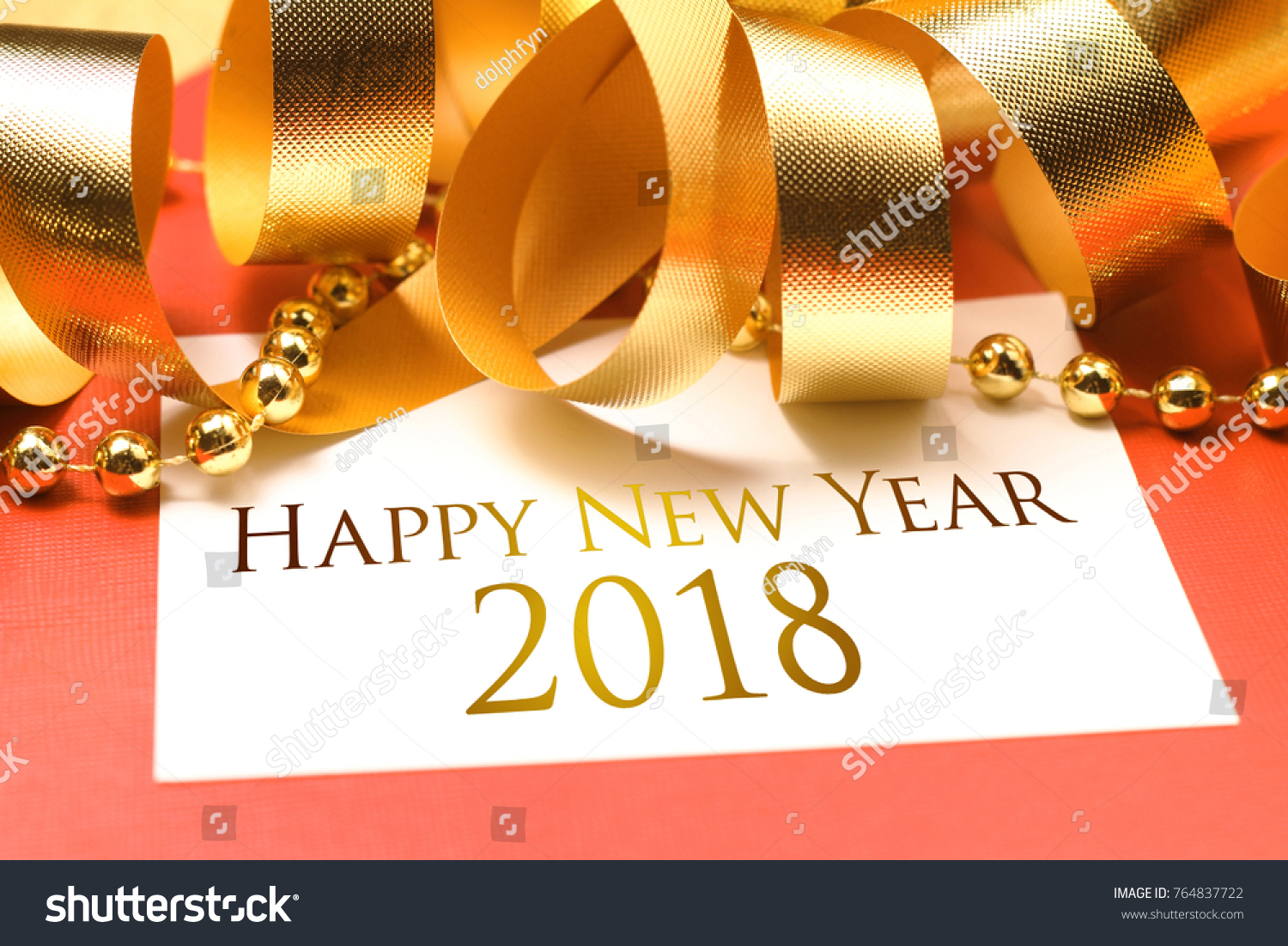 happy new year 2018 with gold decoration we wish you a new year filled with