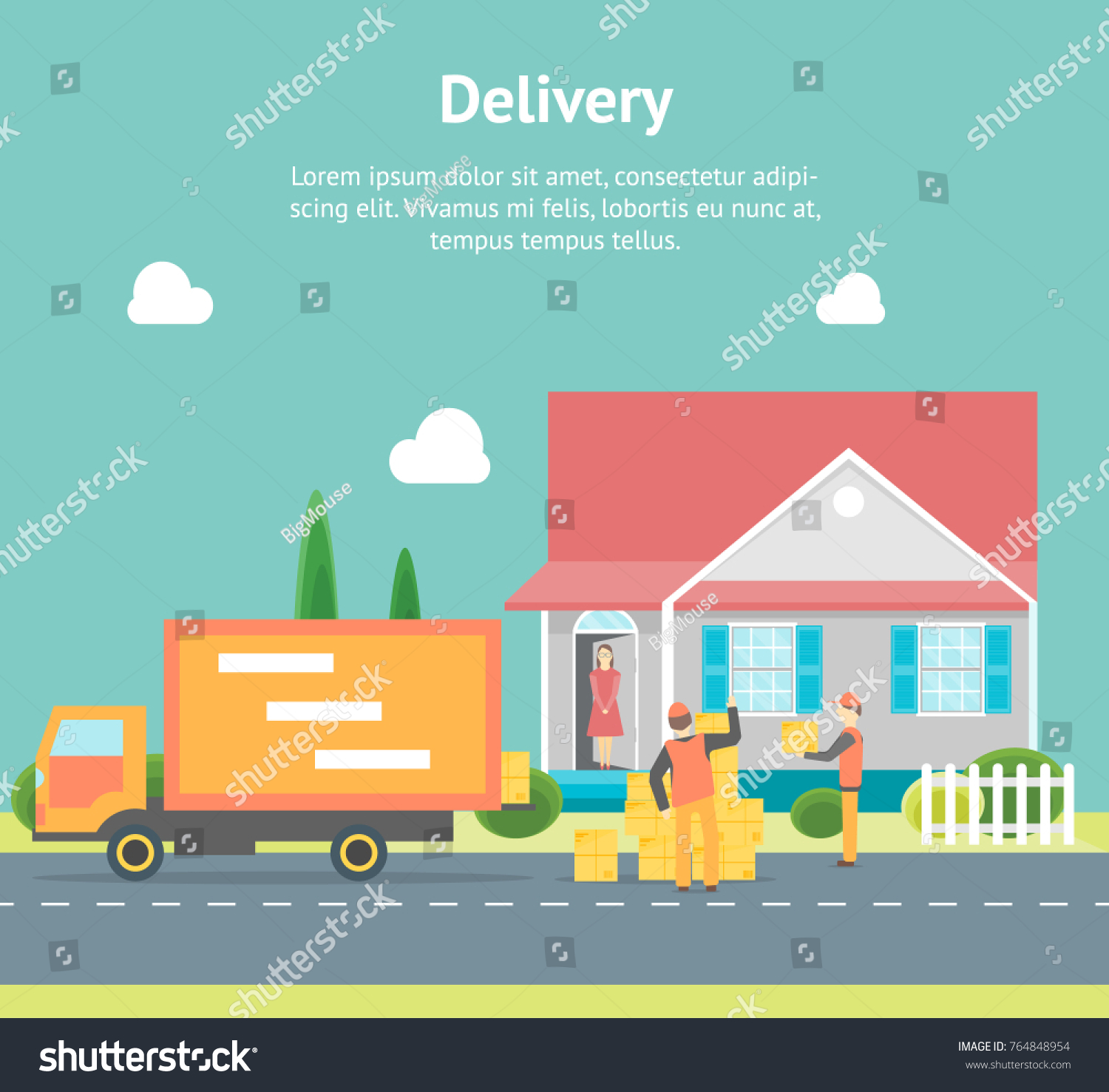 Cartoon Express Delivery Transportation Logistic Service Stock ...