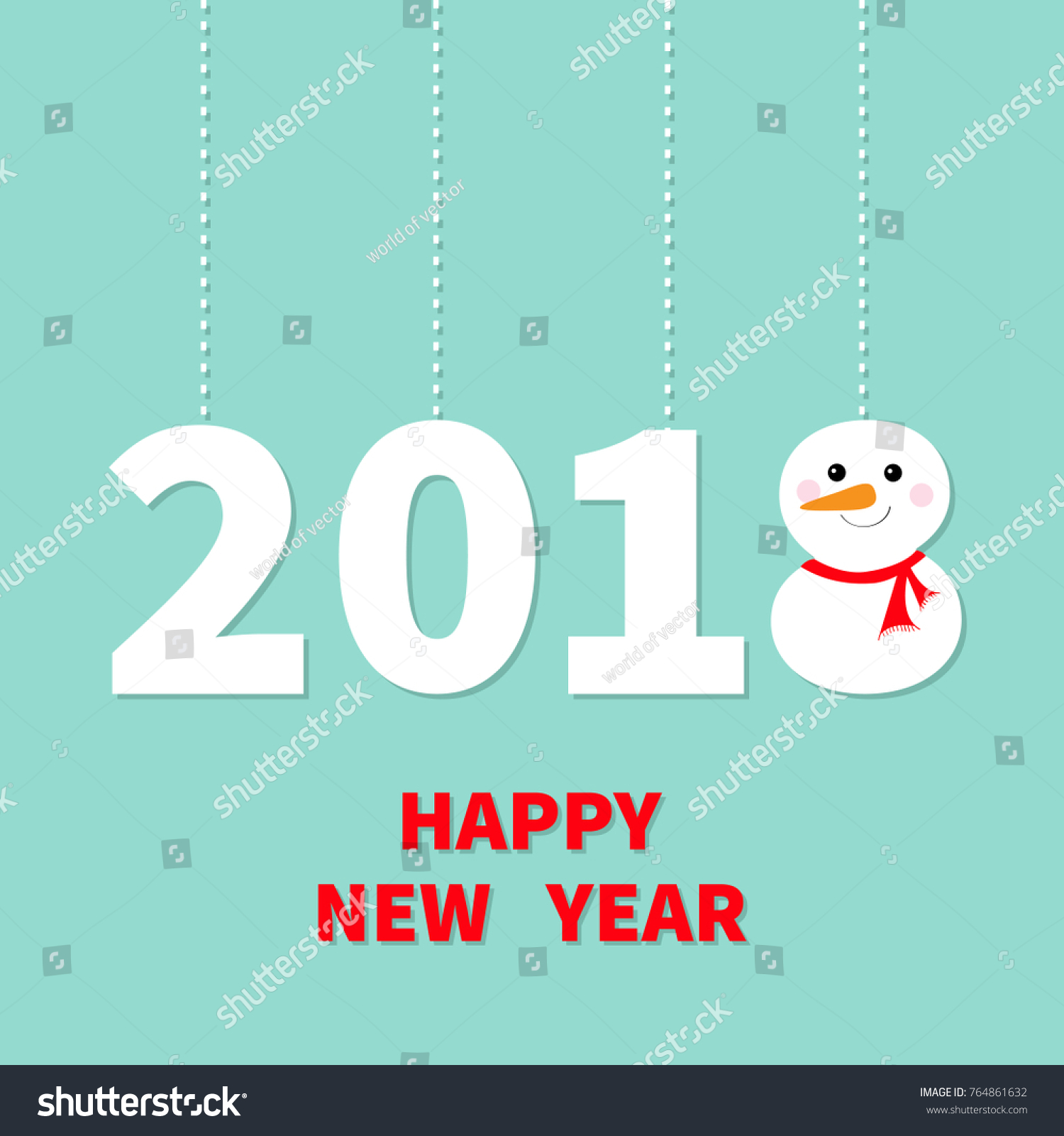2018 happy new year cute snowman hanging dash line red scarf carrot nose