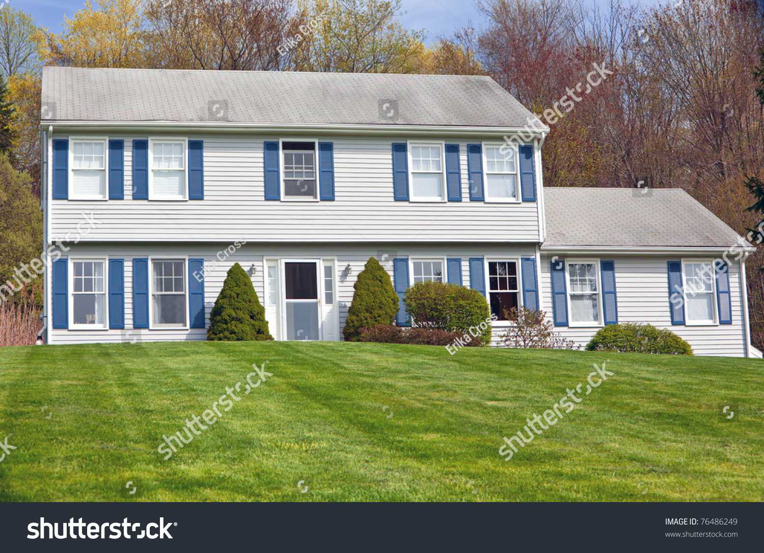 Traditional American Detached Colonial Style House Stock Photo