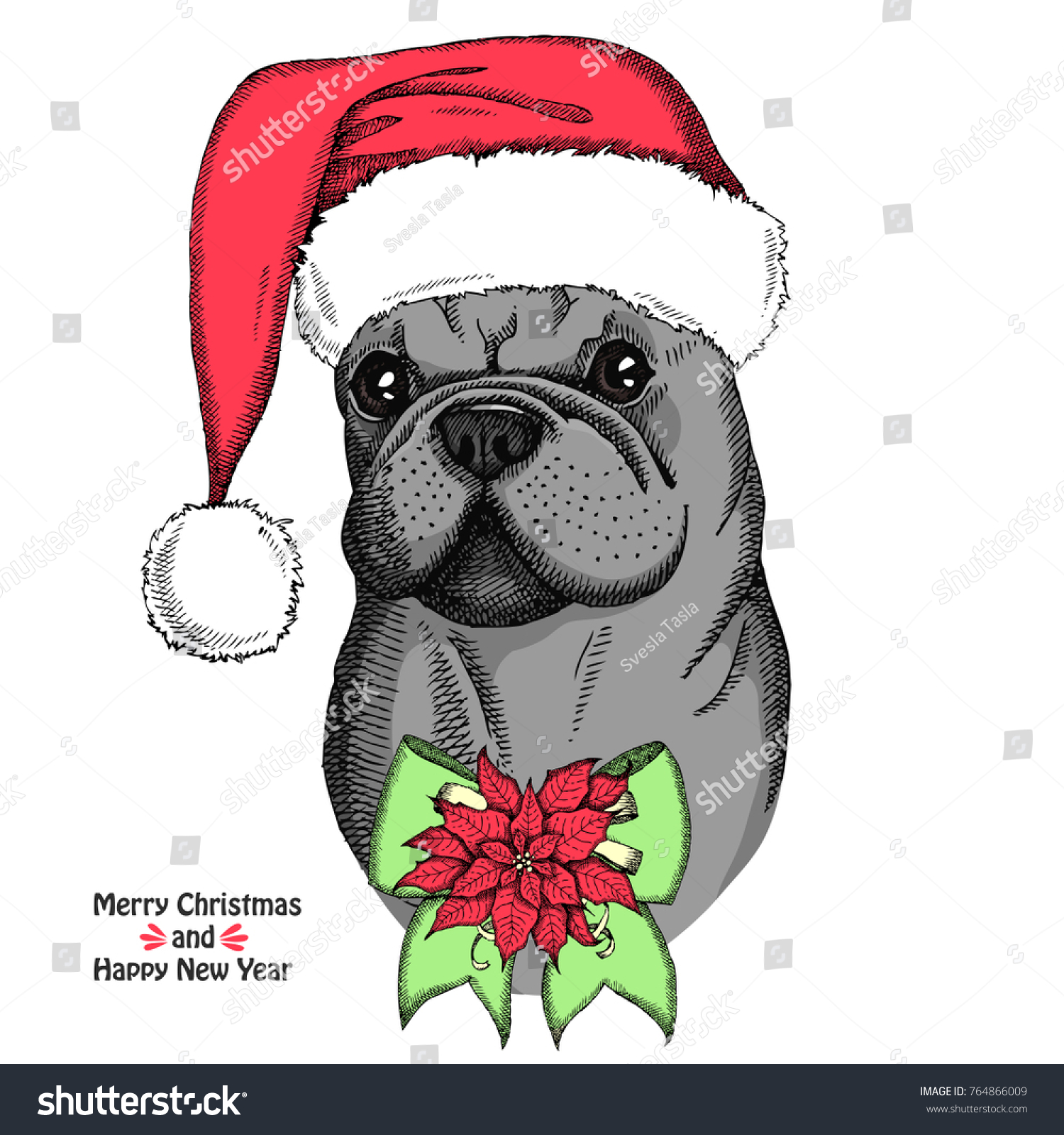 Christmas Card Cute French Bulldog Red Stock Vector (Royalty Free ...