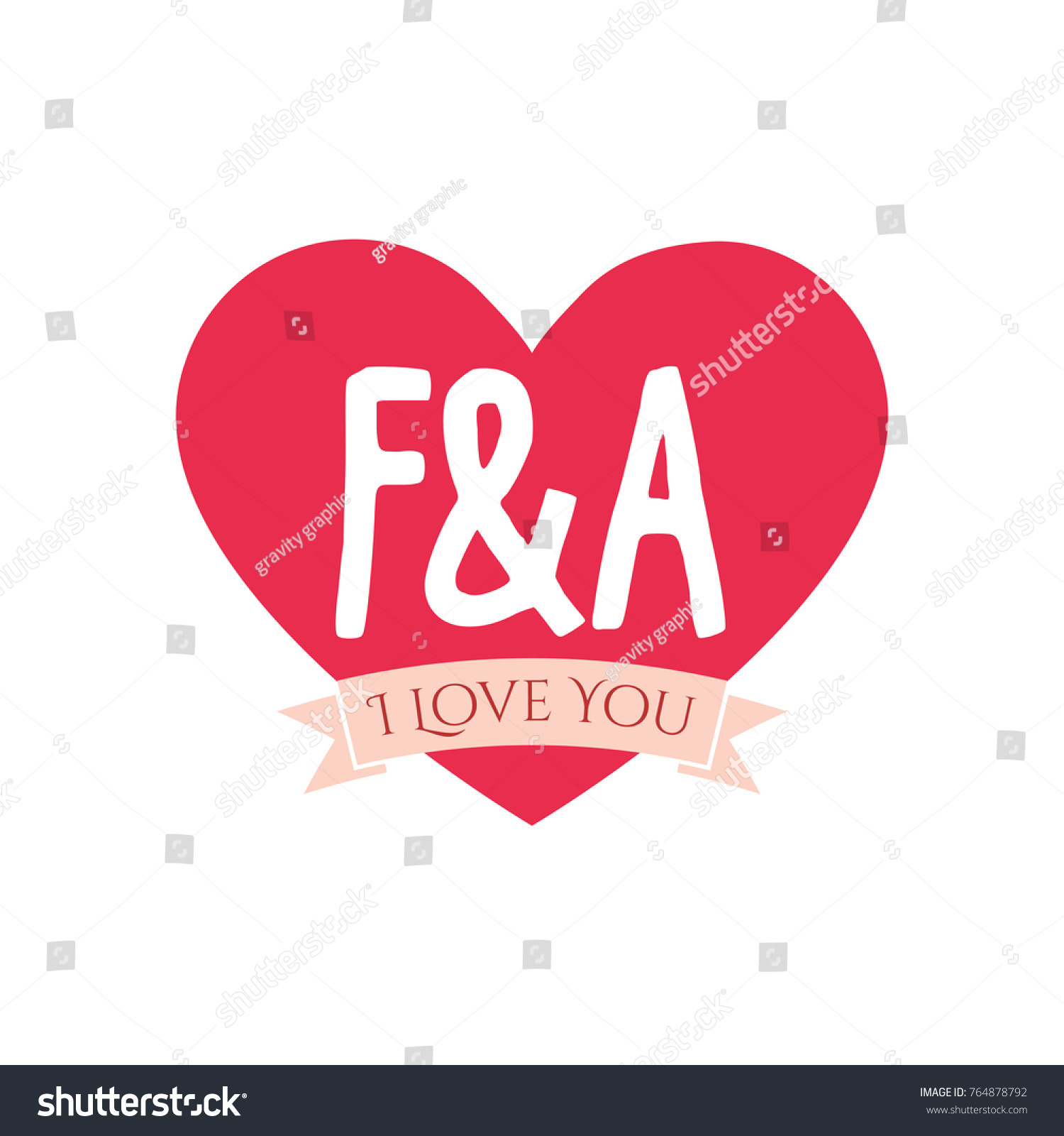 f and a letter inside heart for st valentine day design i love you