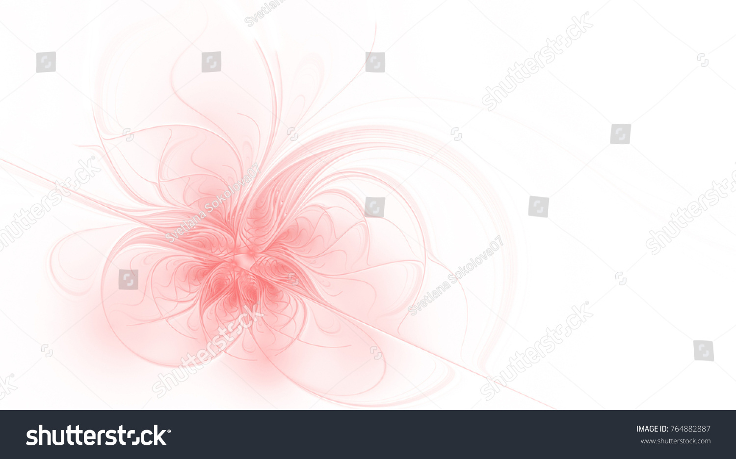 Abstract Fractal Pale Pink Flower On A White Background With Copy
