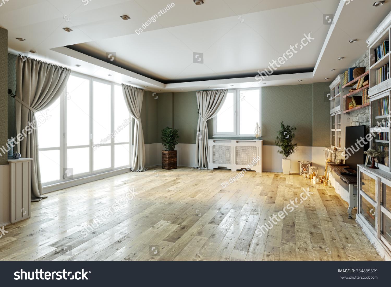Modern Bright Empty Interior Design Stone Stock Illustration ...