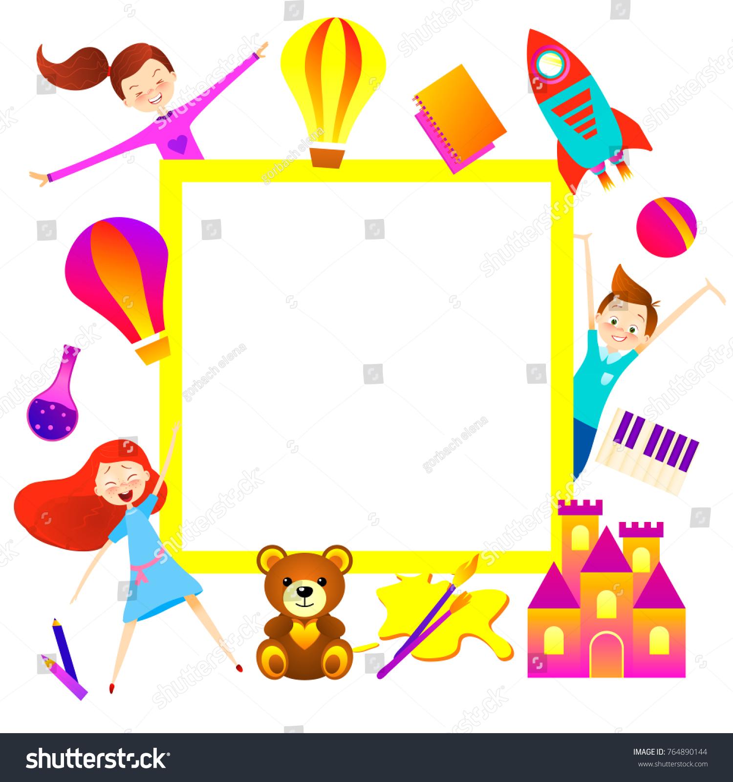 Kid Cartoon Background Fun Child Character Stock Illustration