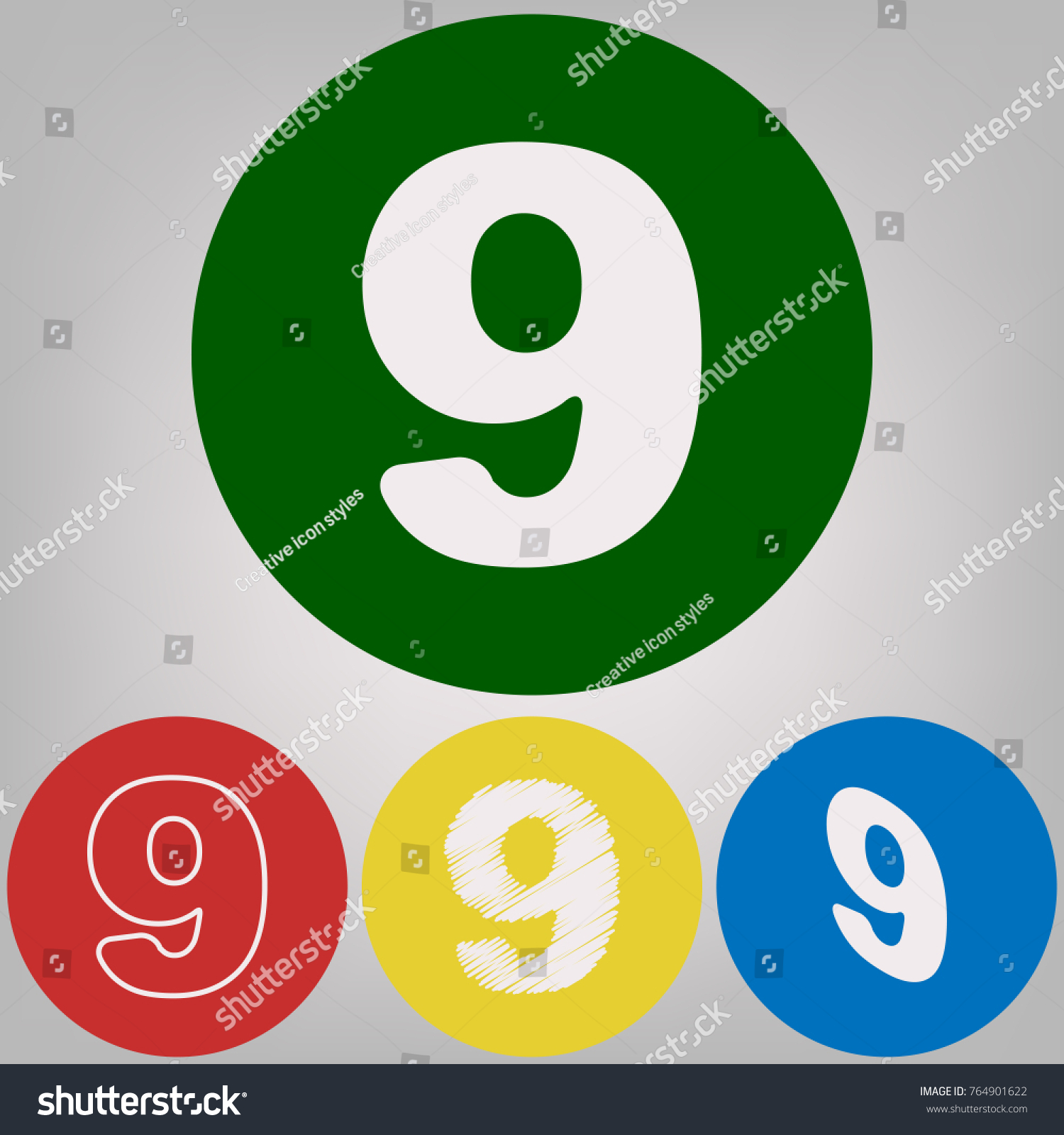 Number 9 Sign Design Template Element Stock Vector 764901622 ...