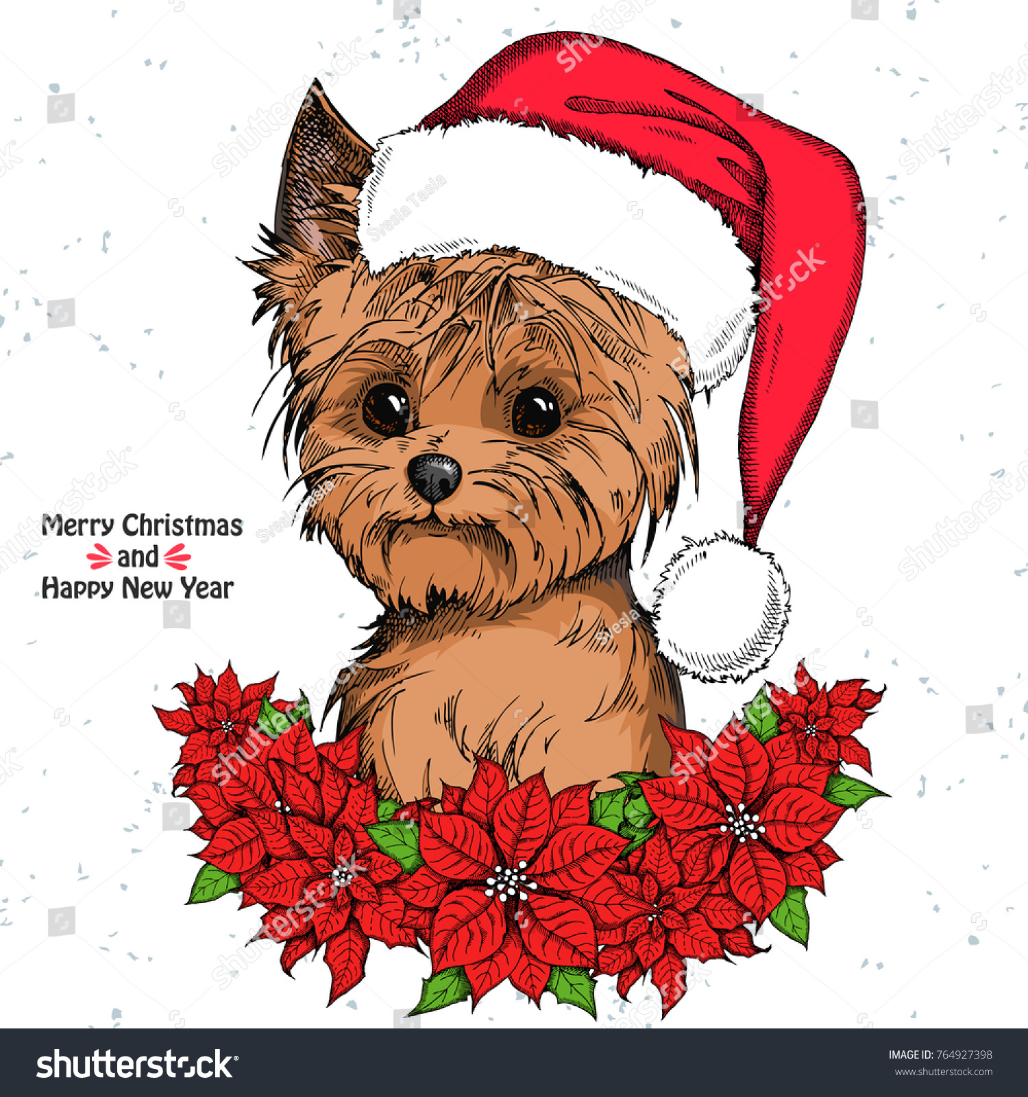 Christmas Card Cute Yorkshire Terrier Red Stock Vector (Royalty Free ...