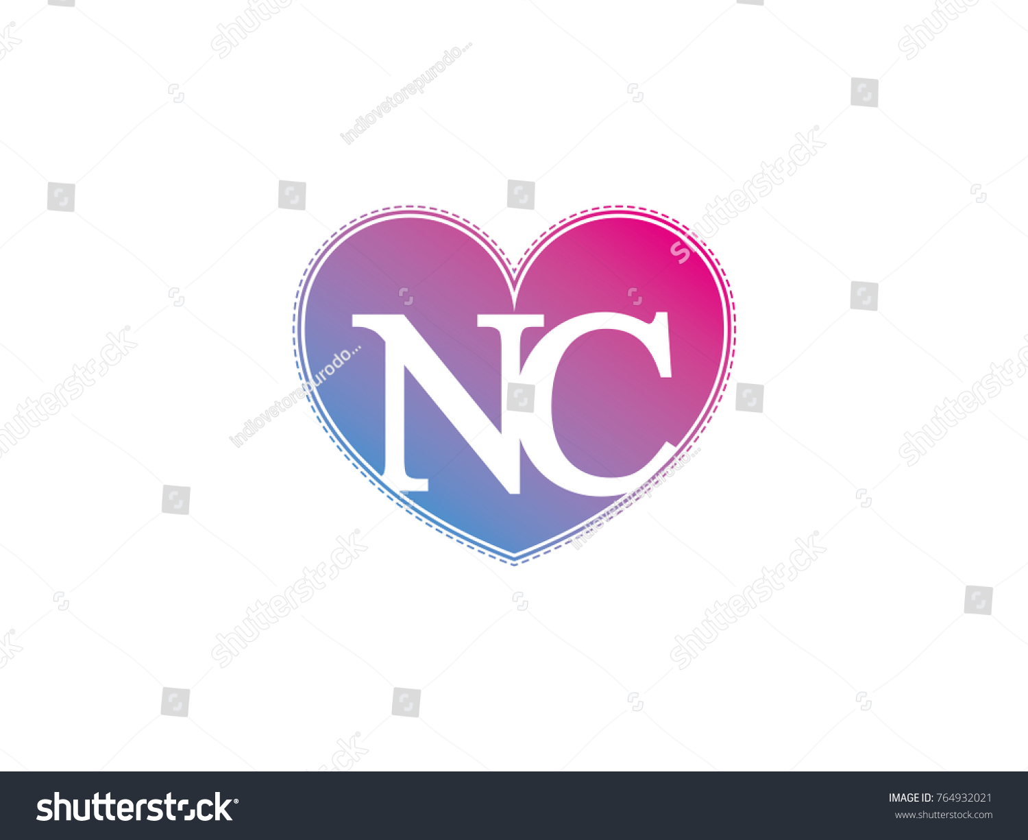 Initial Letter Nc Heart Symbol Logo Stock Photo (Photo, Vector ...