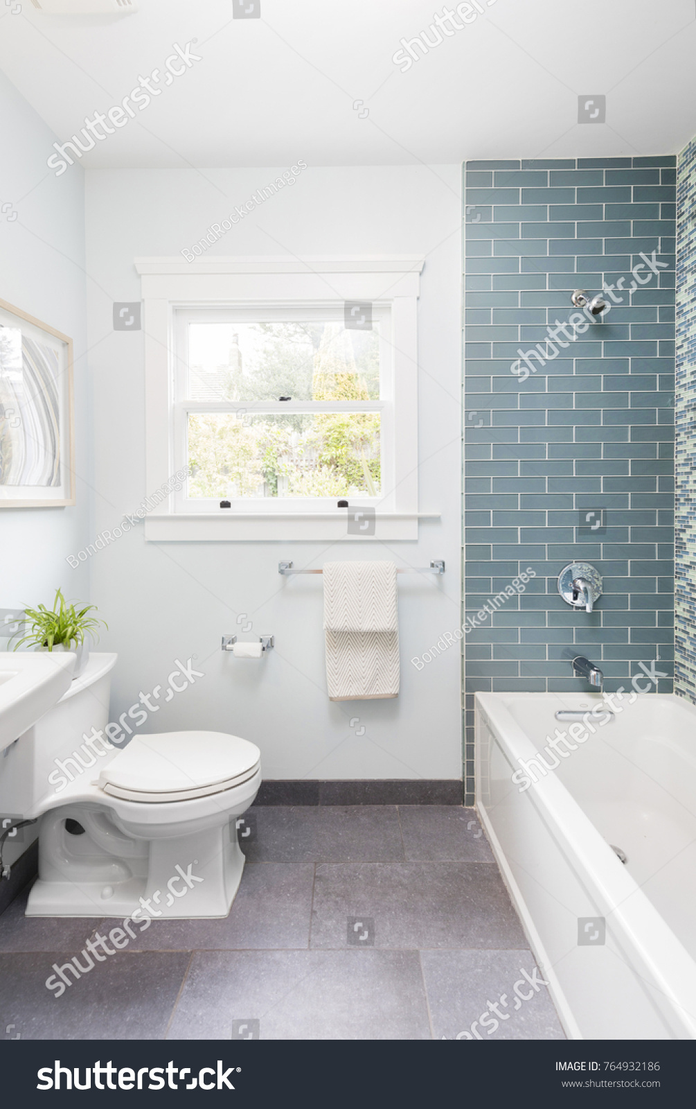 Modern Bathroom Soft Blue Mosaic Glass Stock Photo (Royalty Free ...