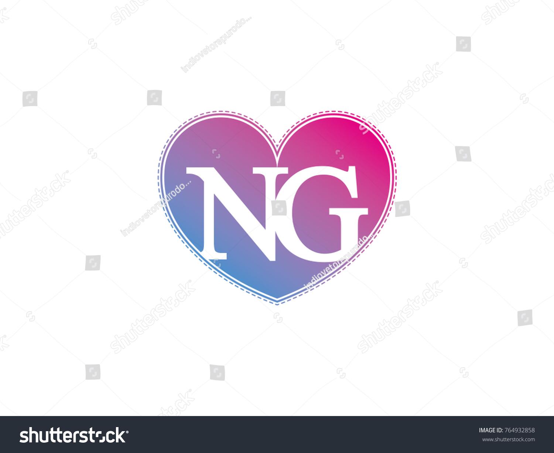 Initial Letter Ng Heart Symbol Logo Stock Vector Royalty Free