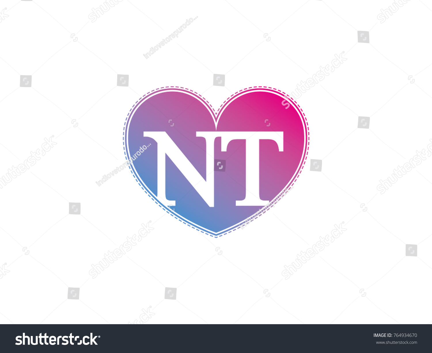 Initial Letter Nt Heart Symbol Logo Stock Vector Royalty Free