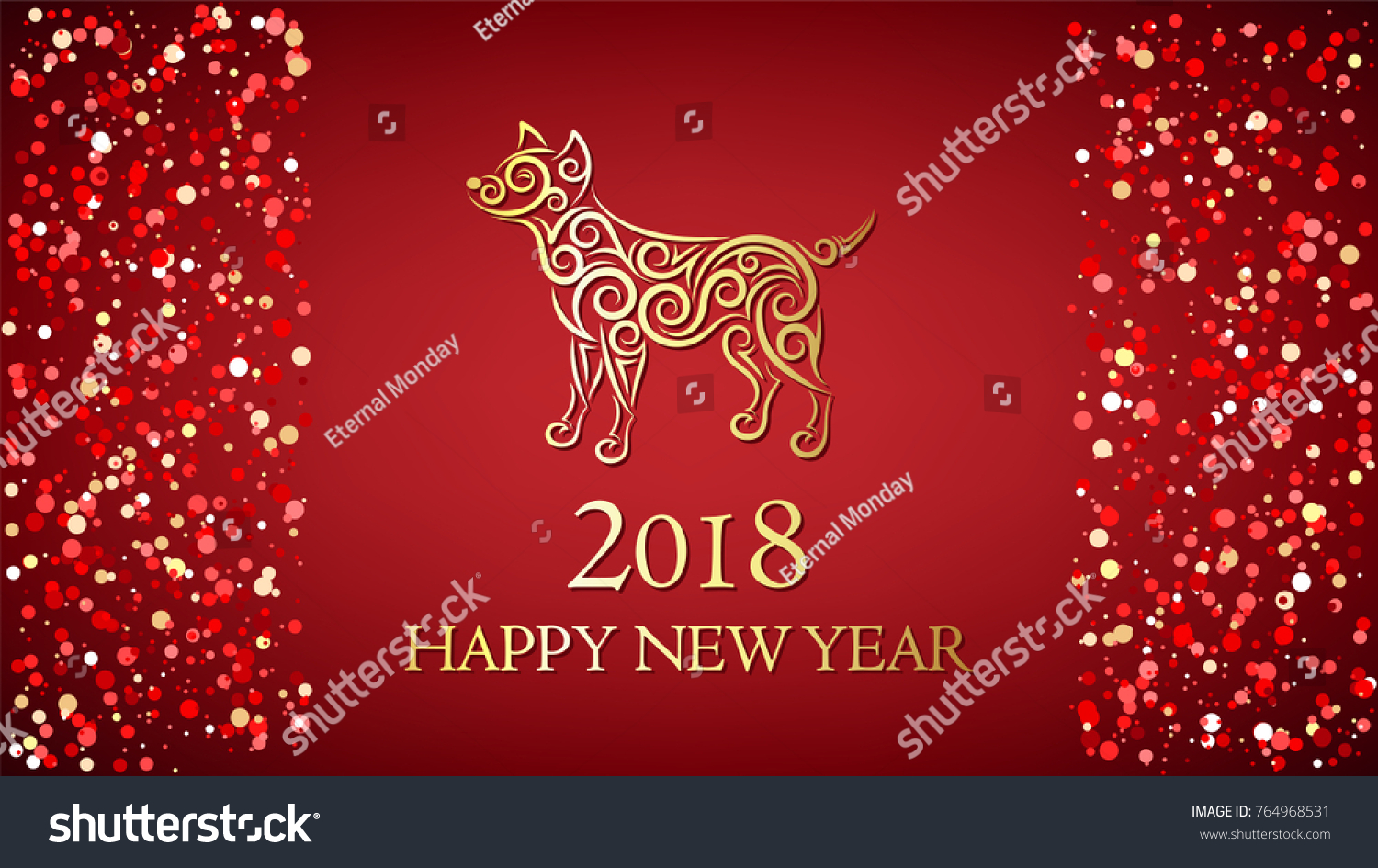 merry christmas and happy new year background with lettering dog silhouette and confetti dots
