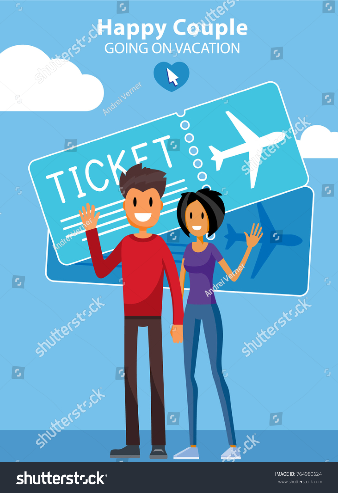 European Man and Woman in Love. People Going on a Vacation. Young Adult  Family. Millennials Characters Flat Vector Art Design Illustration. - Vector