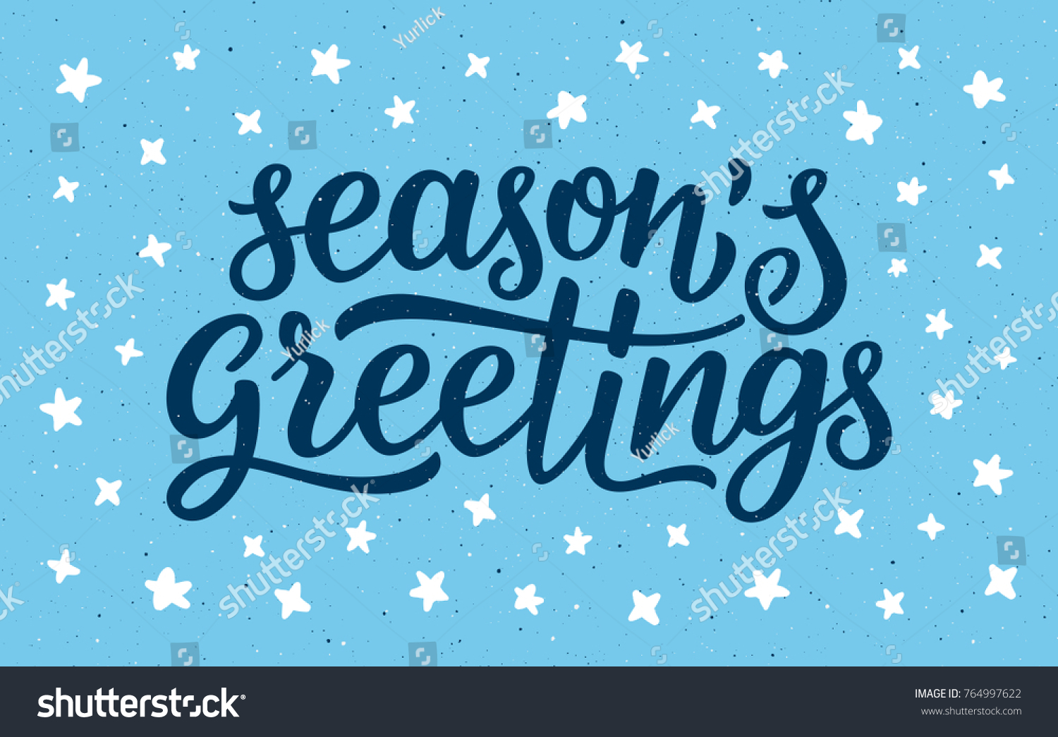 Seasons greetings calligraphy lettering text on stock vector seasons greetings calligraphy lettering text on blue background with white doodle stars retro greeting card kristyandbryce Images