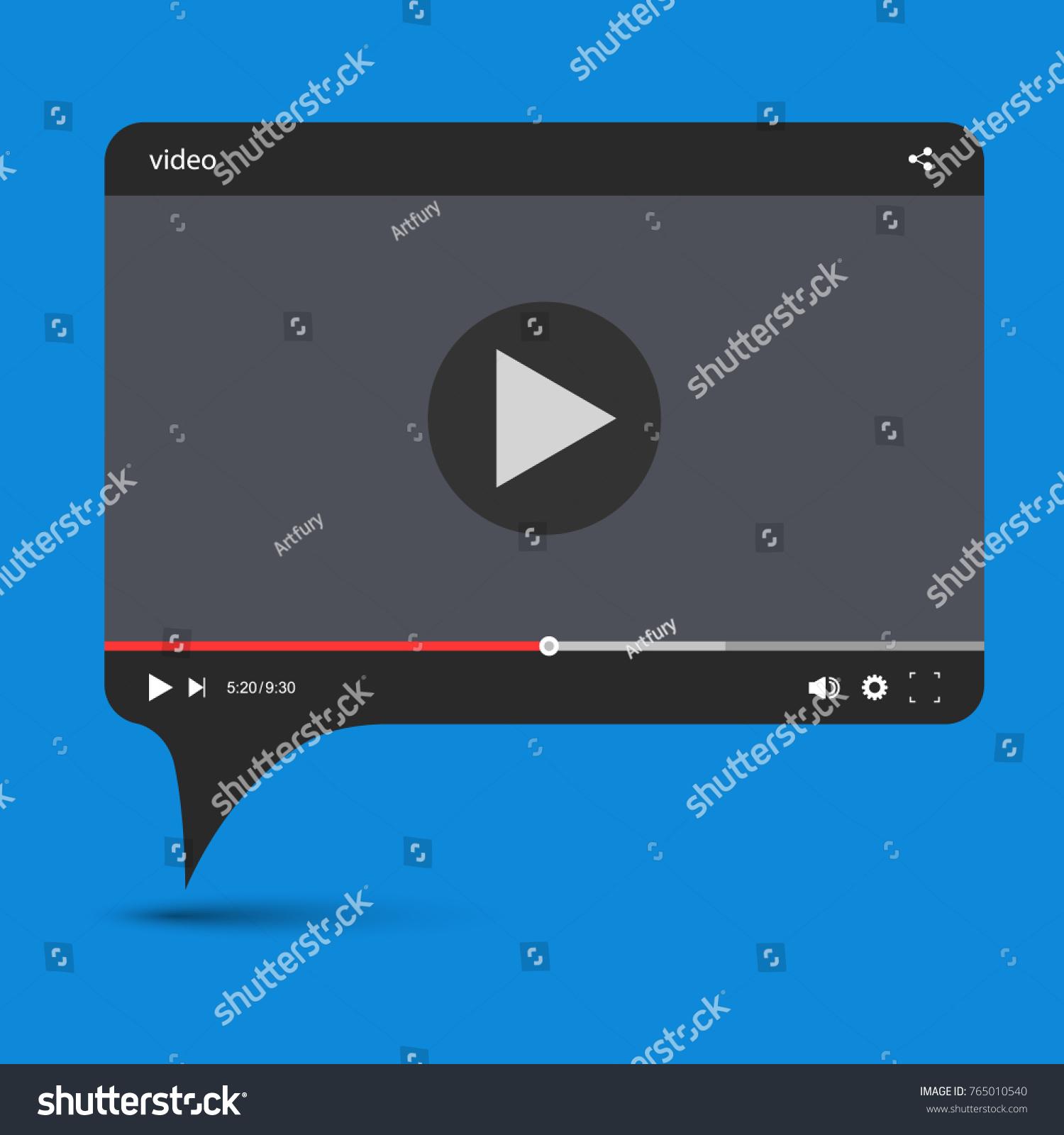 Chat Video Frame Video Player Web Stock-Vektorgrafik 765010540 ...