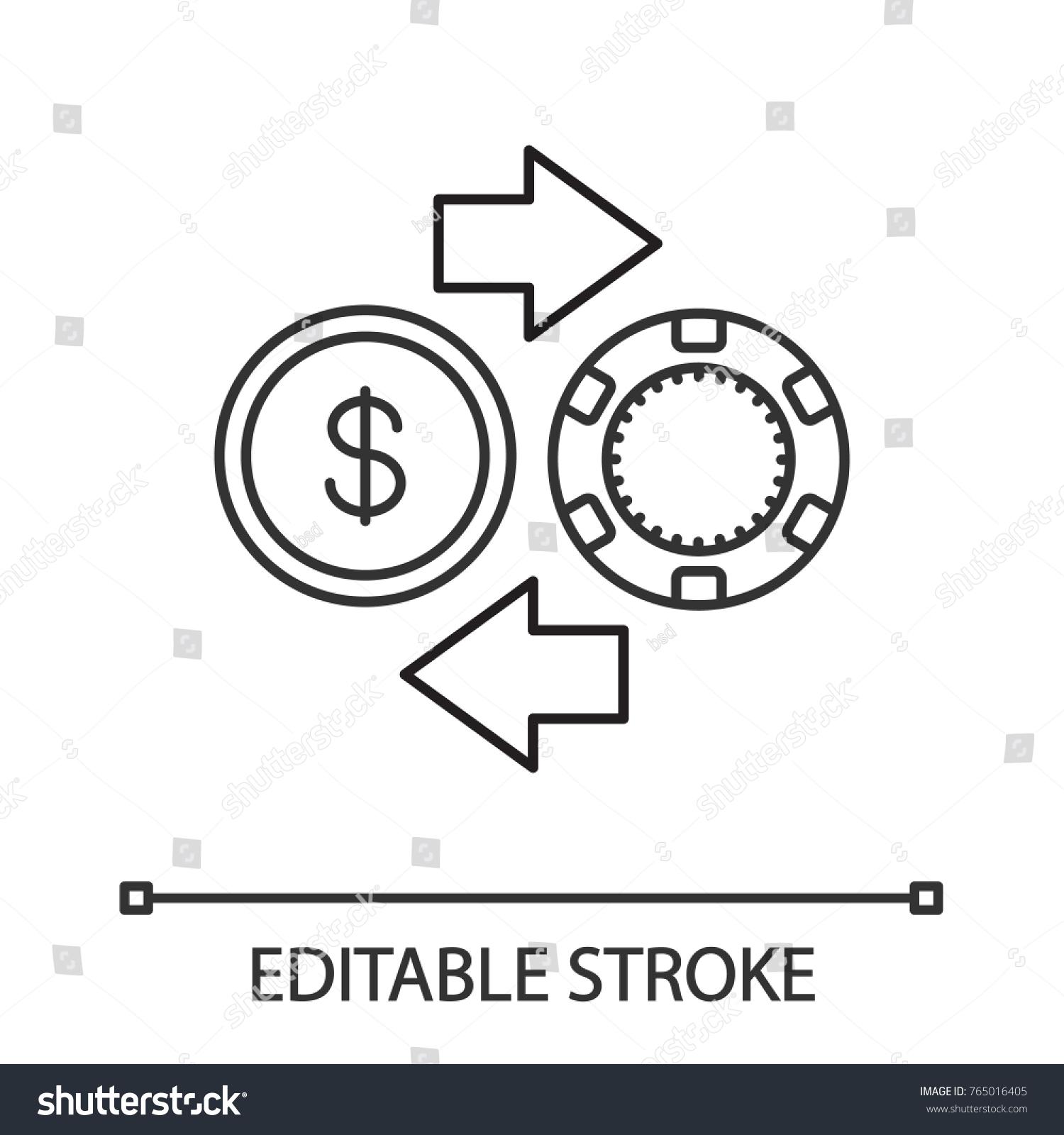 Gambling Chips Cash Money Exchange Linear Stock Vector 765016405