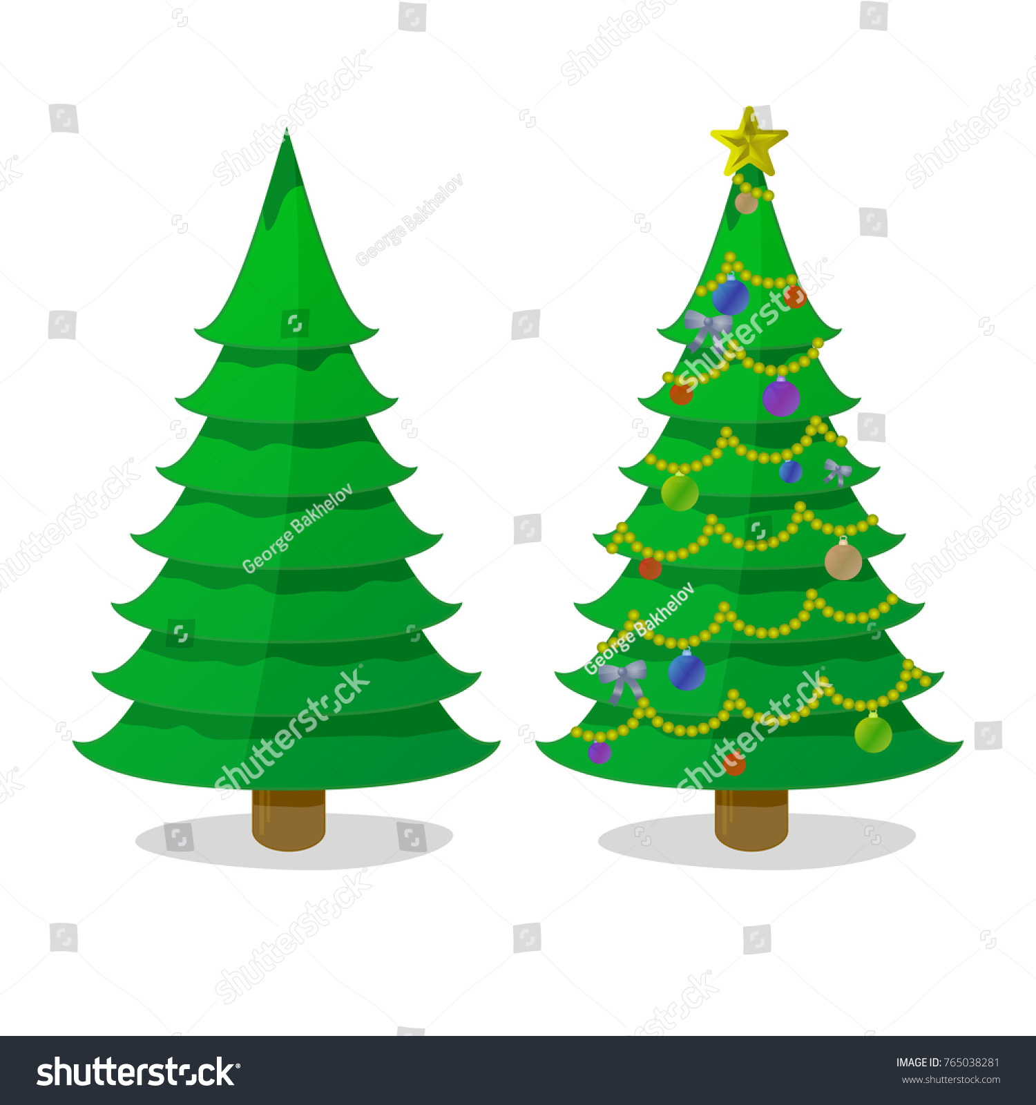 Undecorated Beautifully Decorated Christmas Trees Two Stock Vector Royalty Free 765038281 Single plug power tree pole. https www shutterstock com image vector undecorated beautifully decorated christmas trees two 765038281