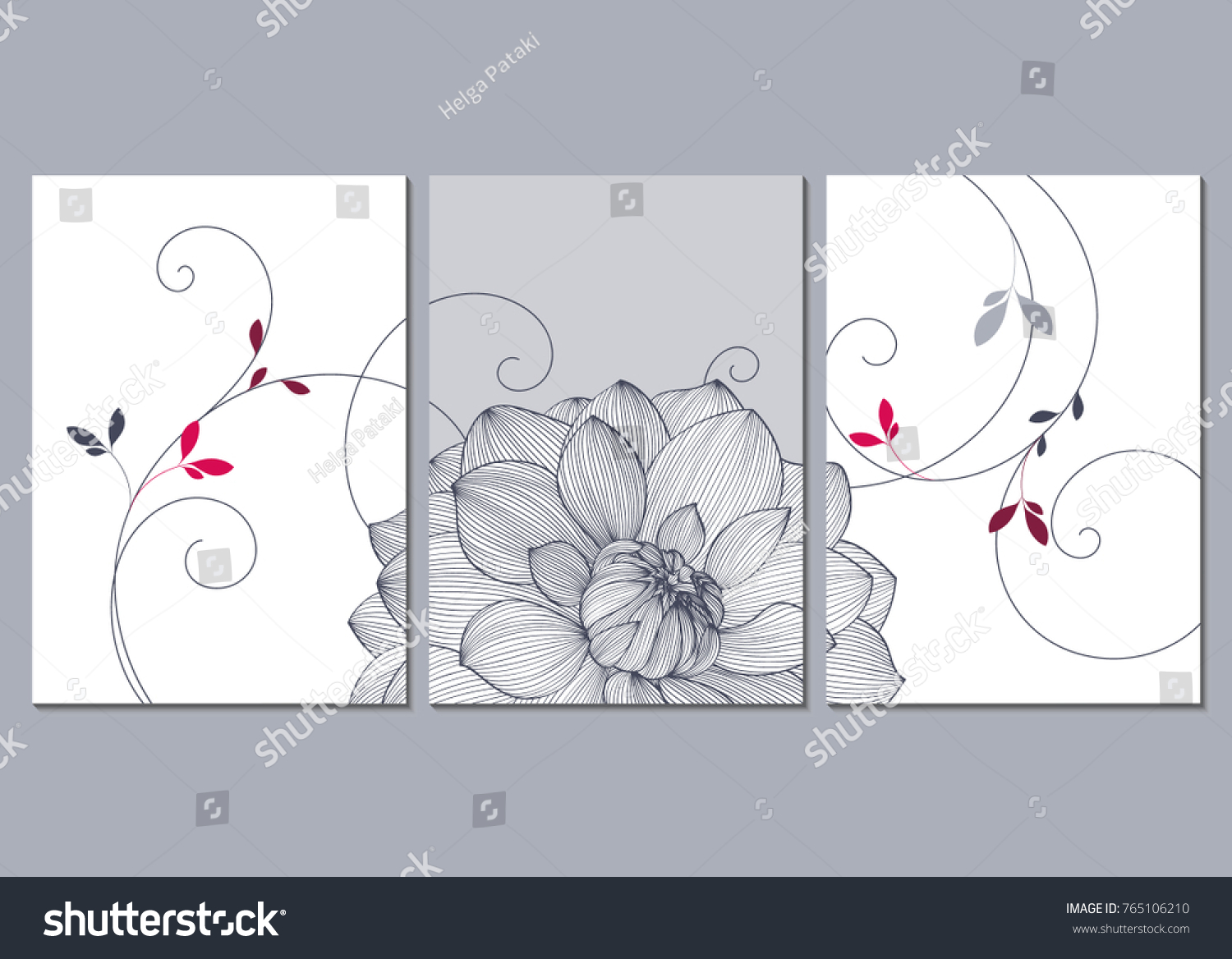 Set 3 Canvases Wall Decoration Living Stock Vector Royalty Free