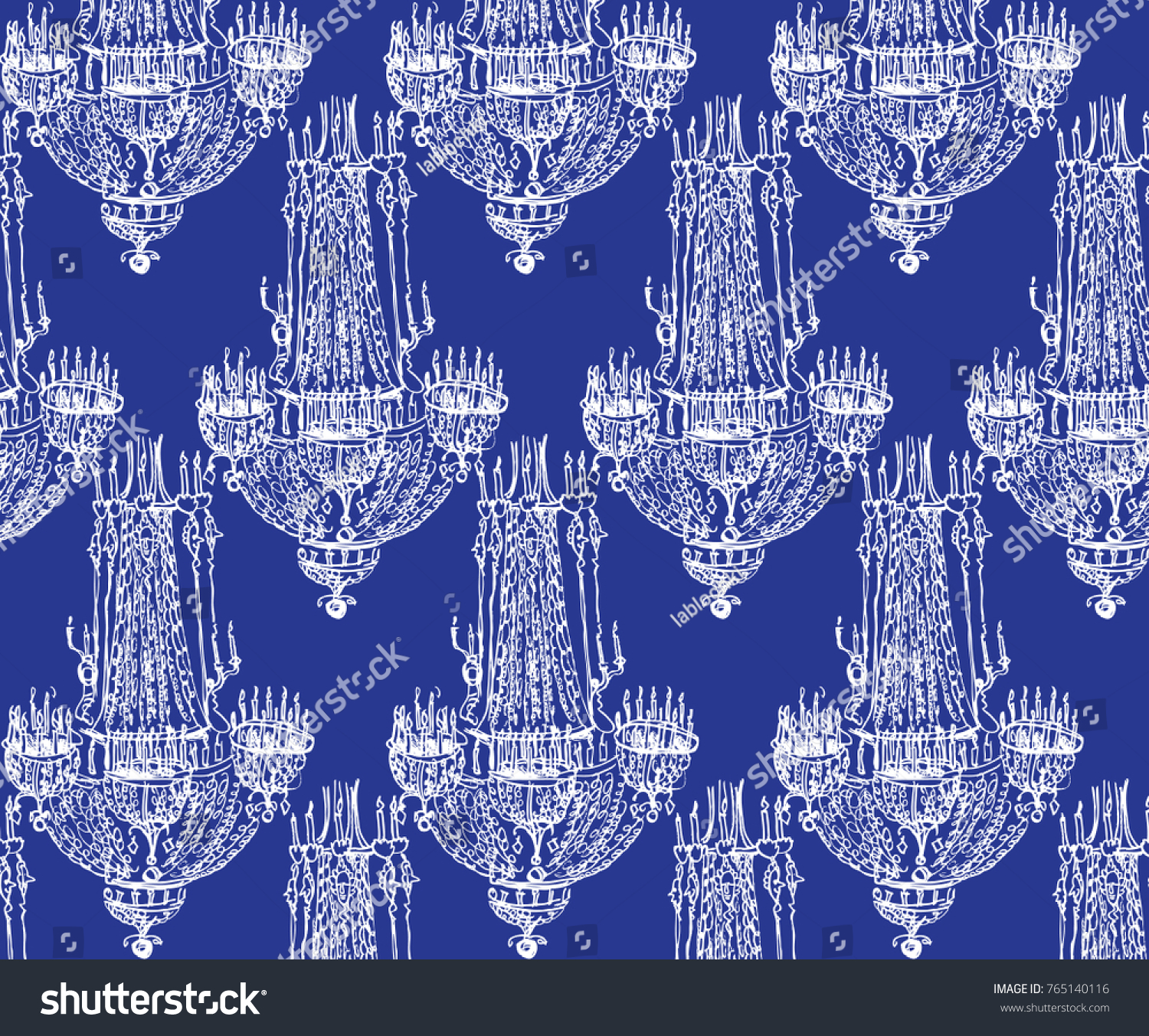 Colored Ornament Antique Chandeliers Stock Vector