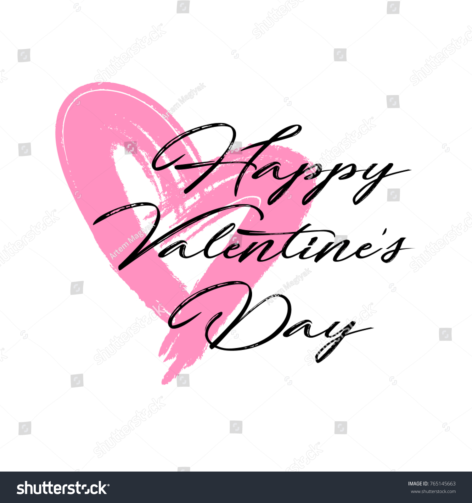 happy valentines day modern calligraphy hand stock vector